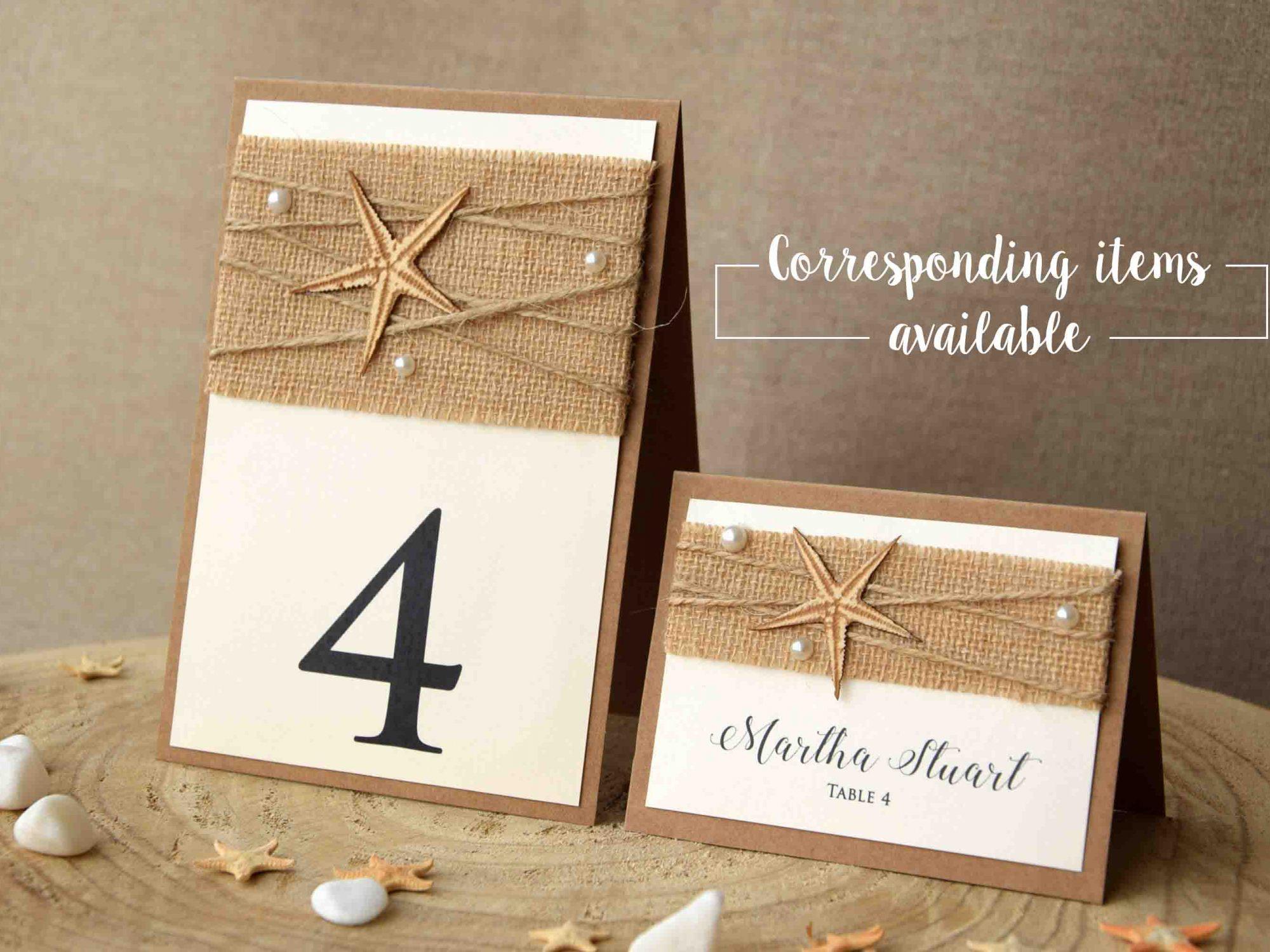 Ivory Beach Wedding Place Cards