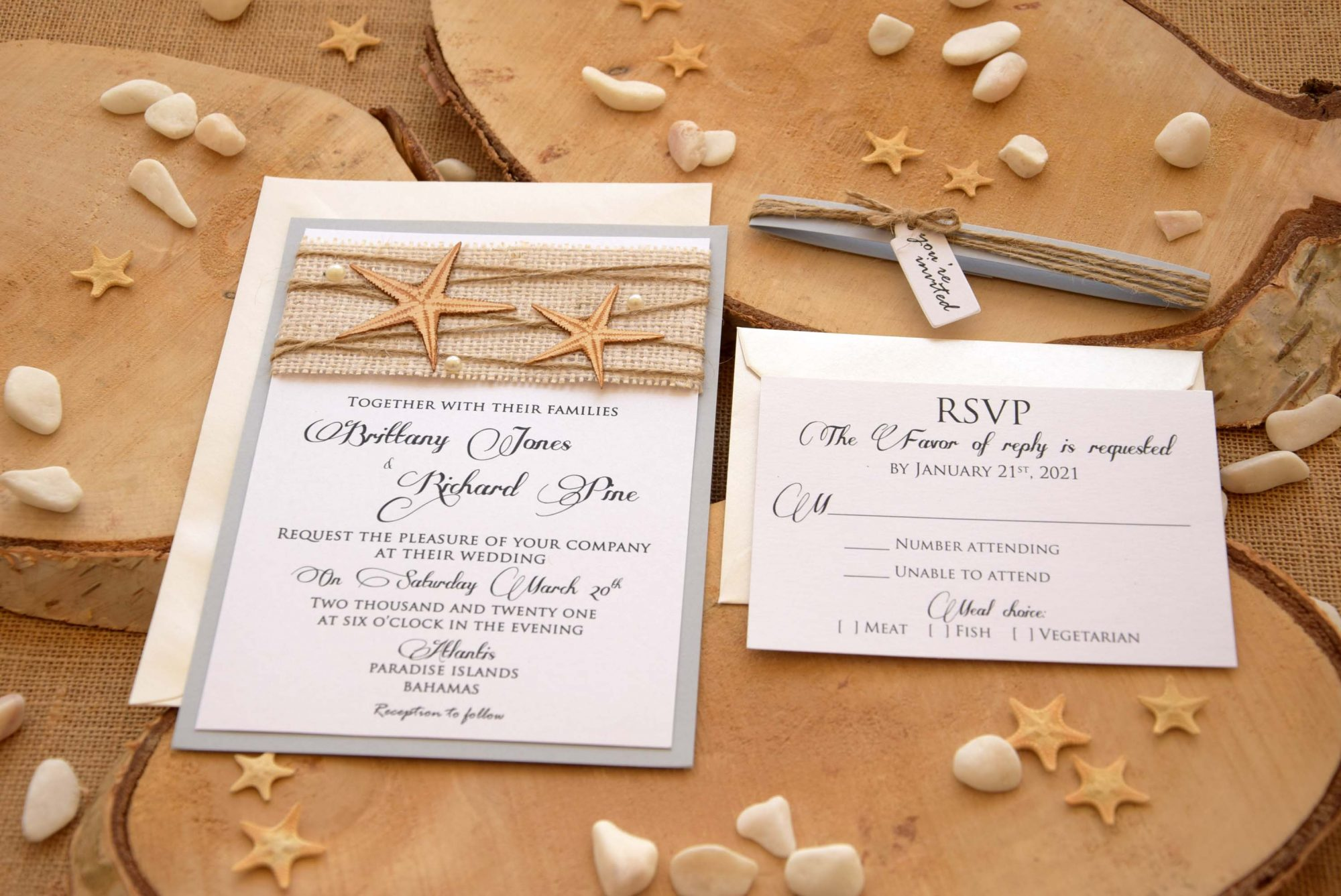 Beach Burlap Wedding Invitations
