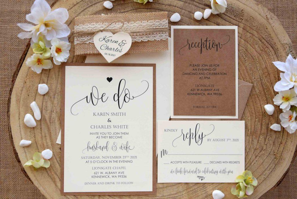 Rustic Lace Wedding Invitation #rusticinvitations #laceweddinginvitations #rusticwedding #rusticlaceweddinginvitations