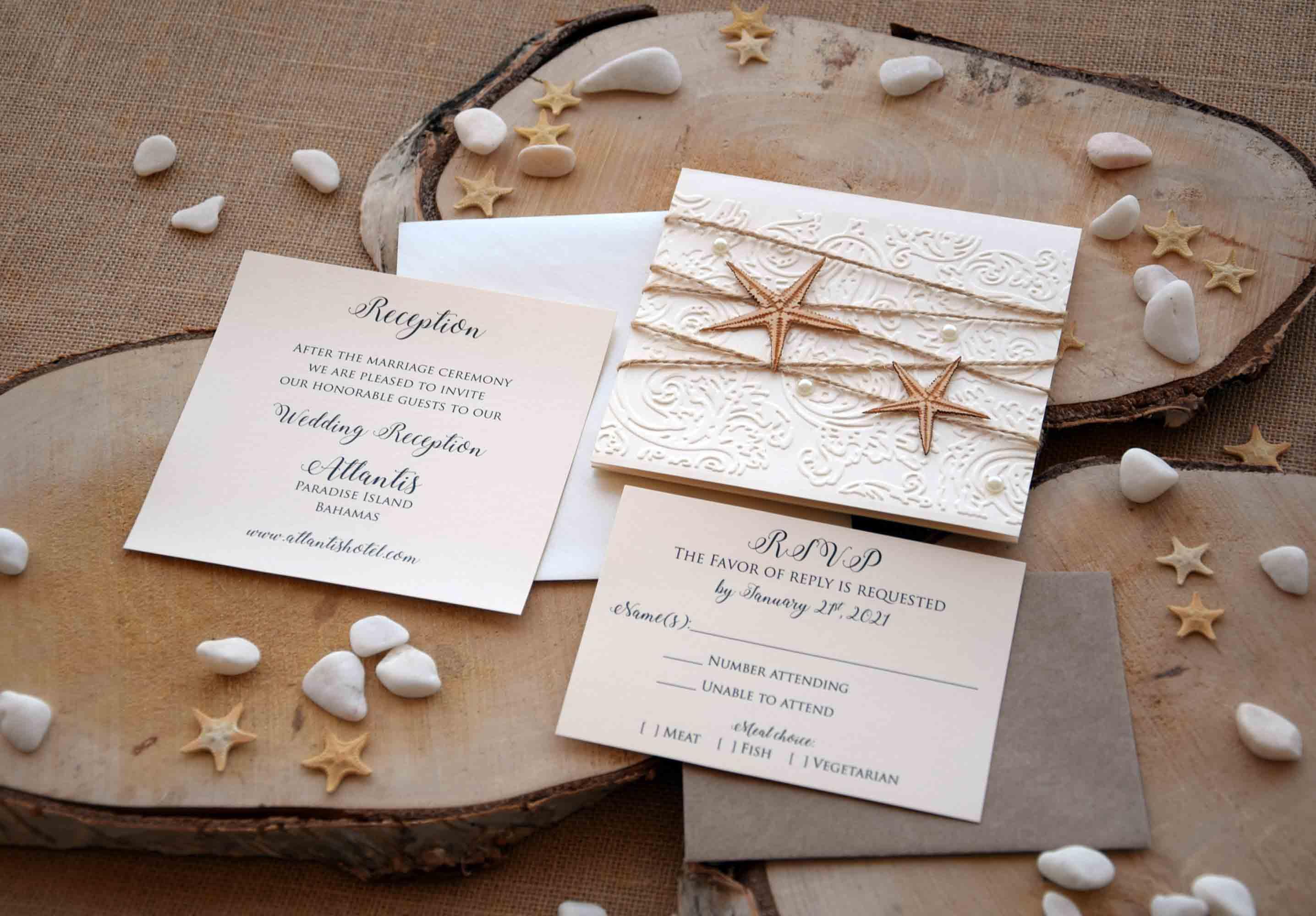 Luxury Beach Wedding Invitations