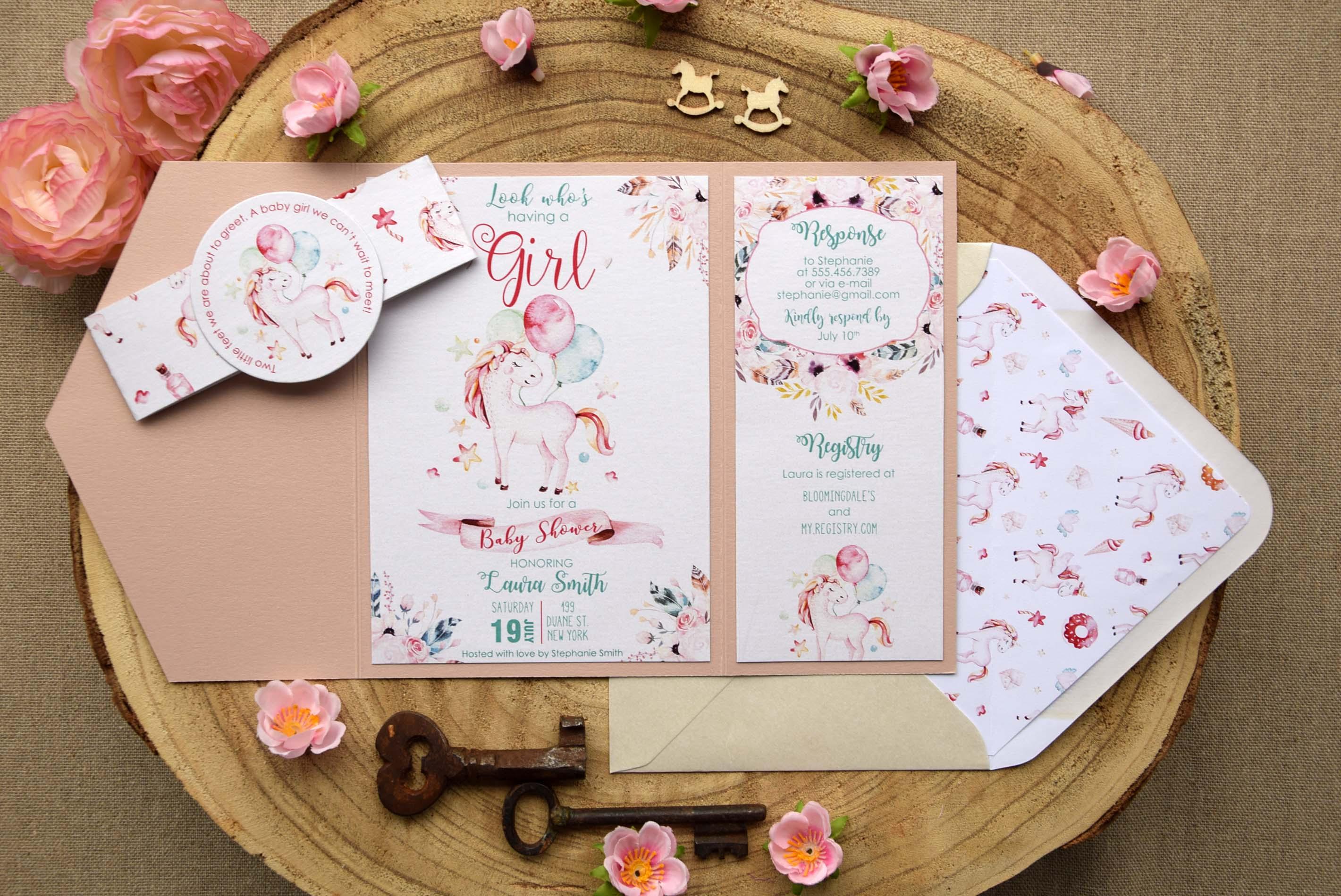 Unicorn Baby Shower Invitations for girls