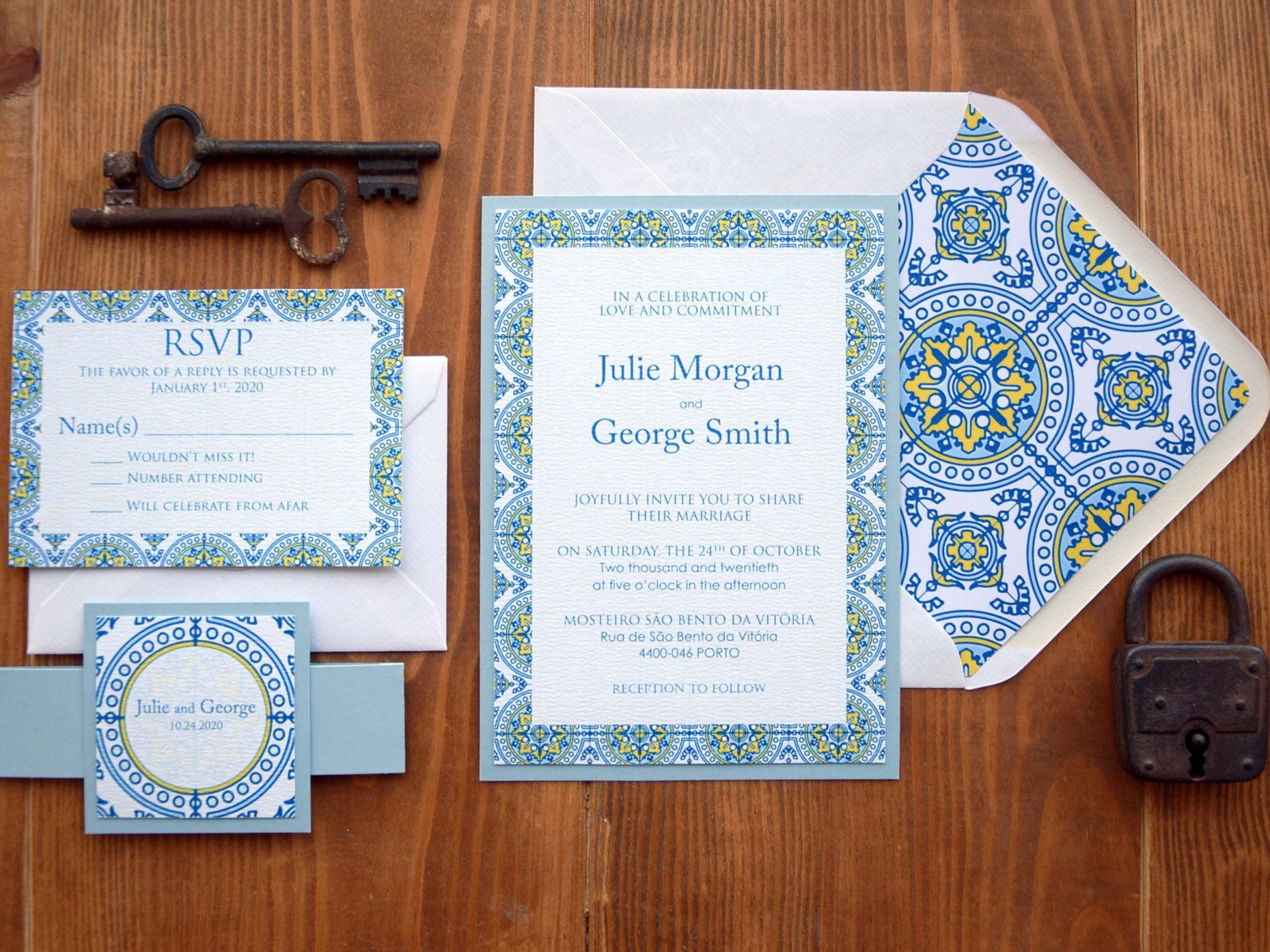 Custom Tile Wedding Invitations
