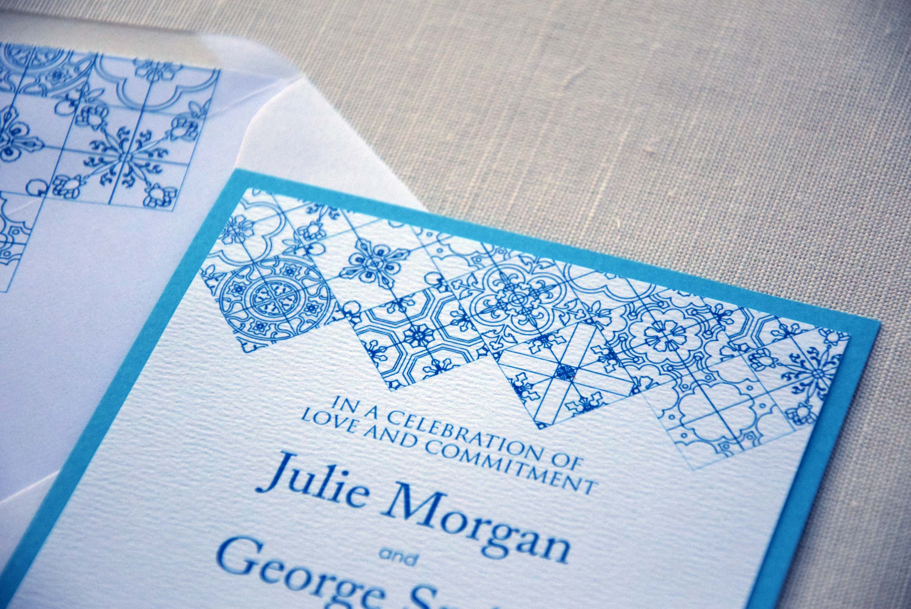 Turquoise Tile Wedding Invitations