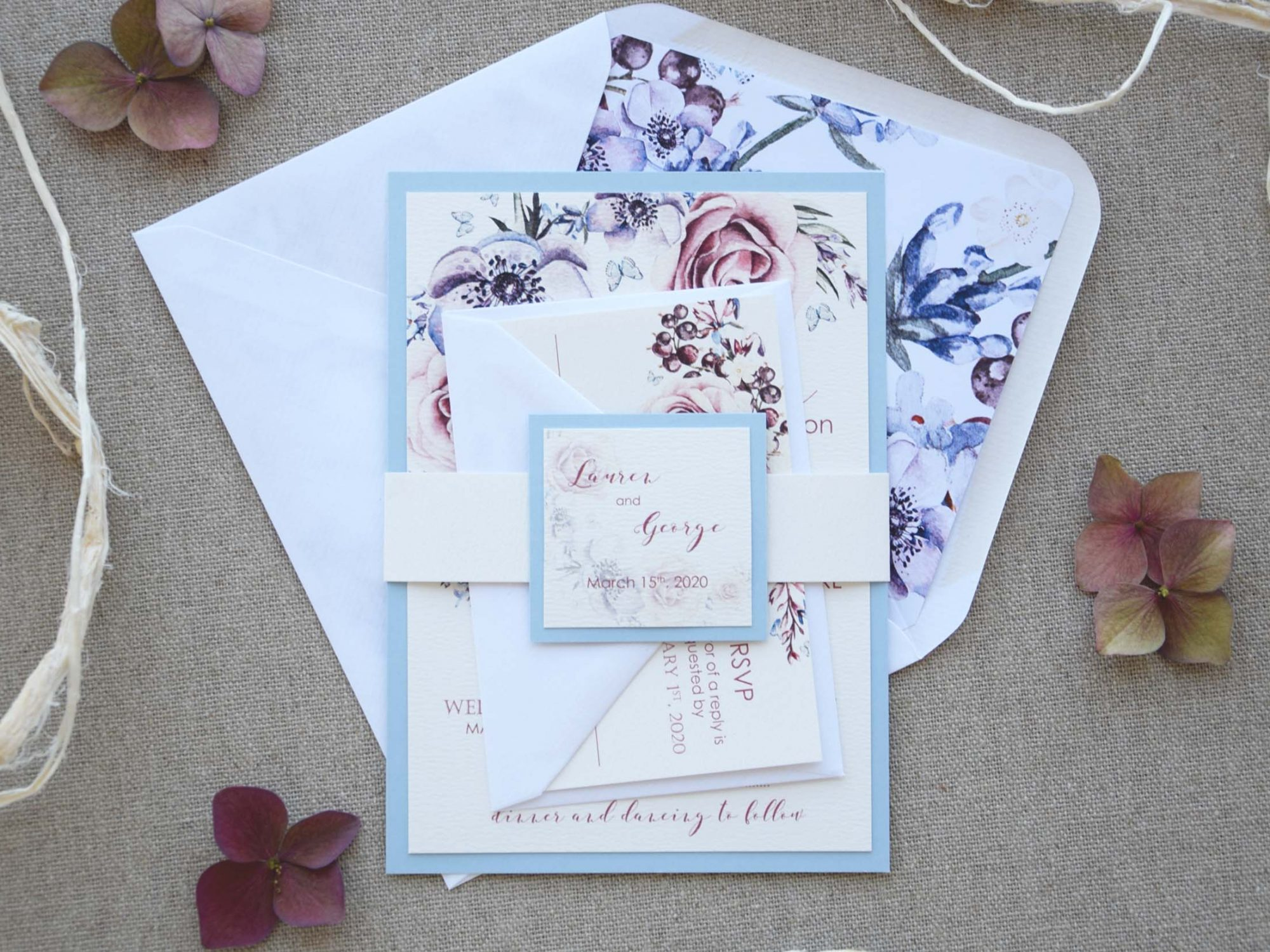 Blue Floral Wedding Invitations with rsvp