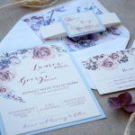 Blue Formal WeddiBlue Floral Wedding Invitations with rsvpng Invitations with rsvp