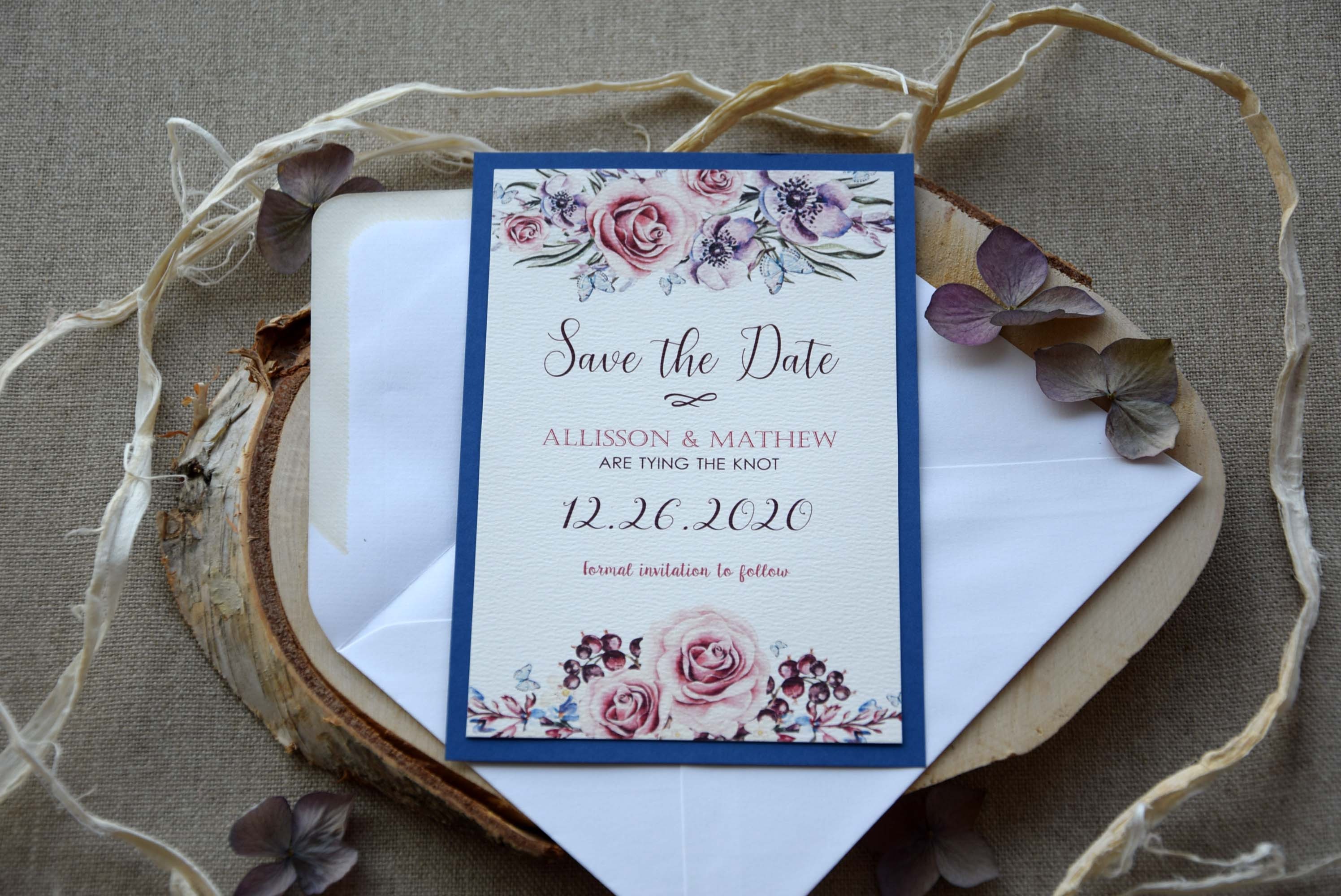 Blue Save The Date Wedding Cards