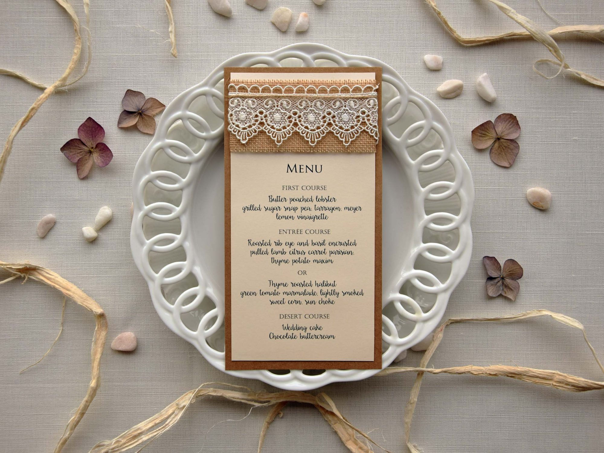 Lace Bridal Shower Dinner Menu