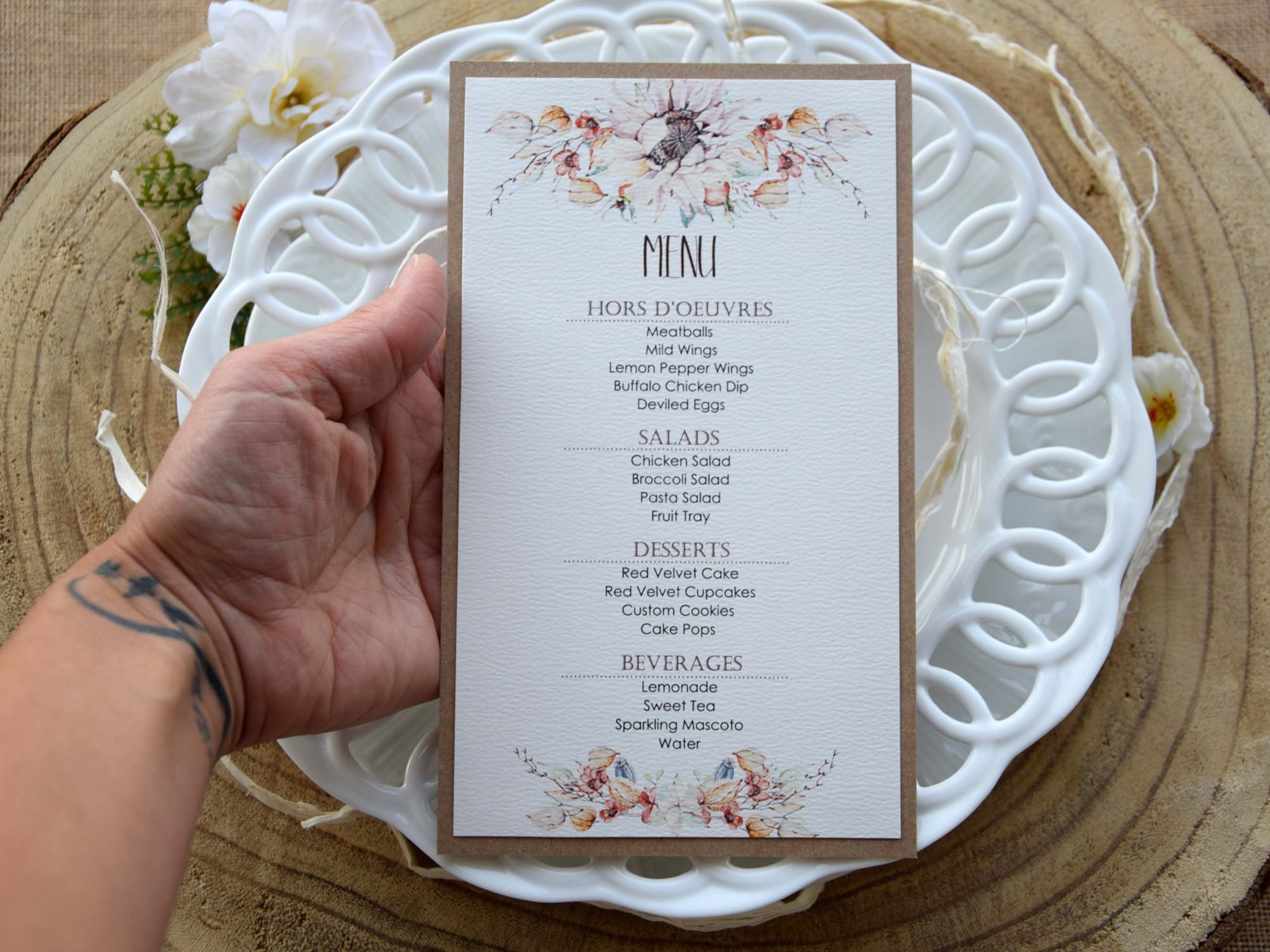 Floral Watercolor Wedding Dinner Menu