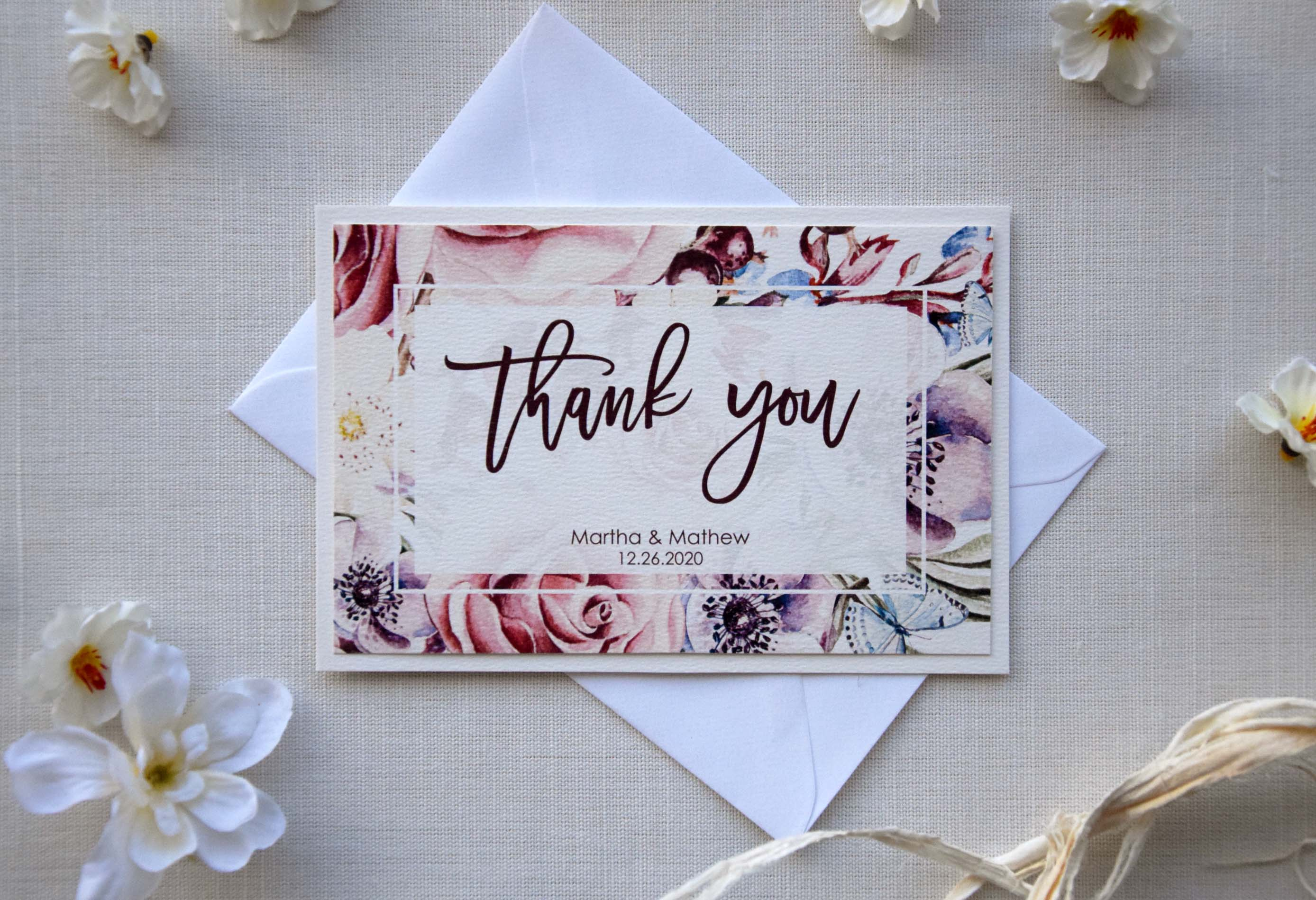 unique watercolor thank you cards floral wedding thank