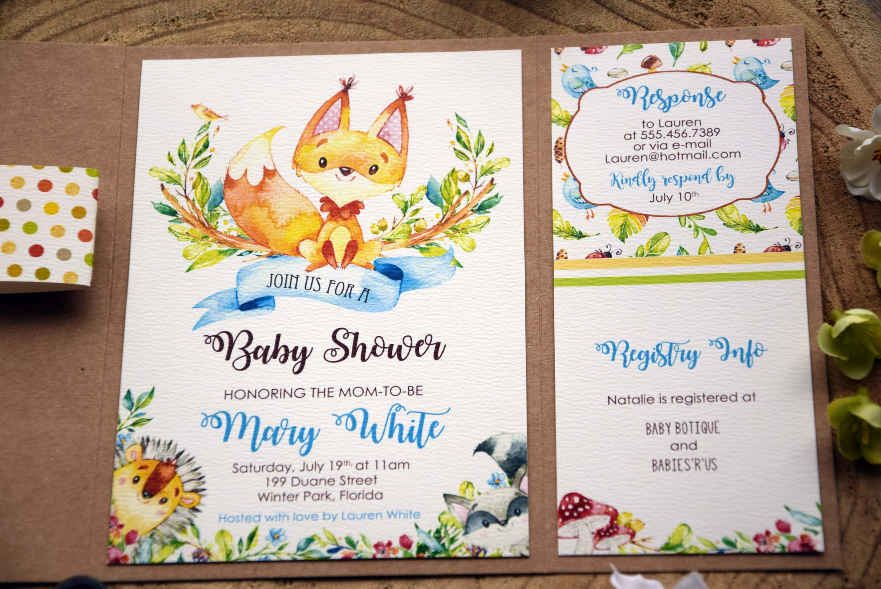 Jungle Theme Baby Shower Invitations