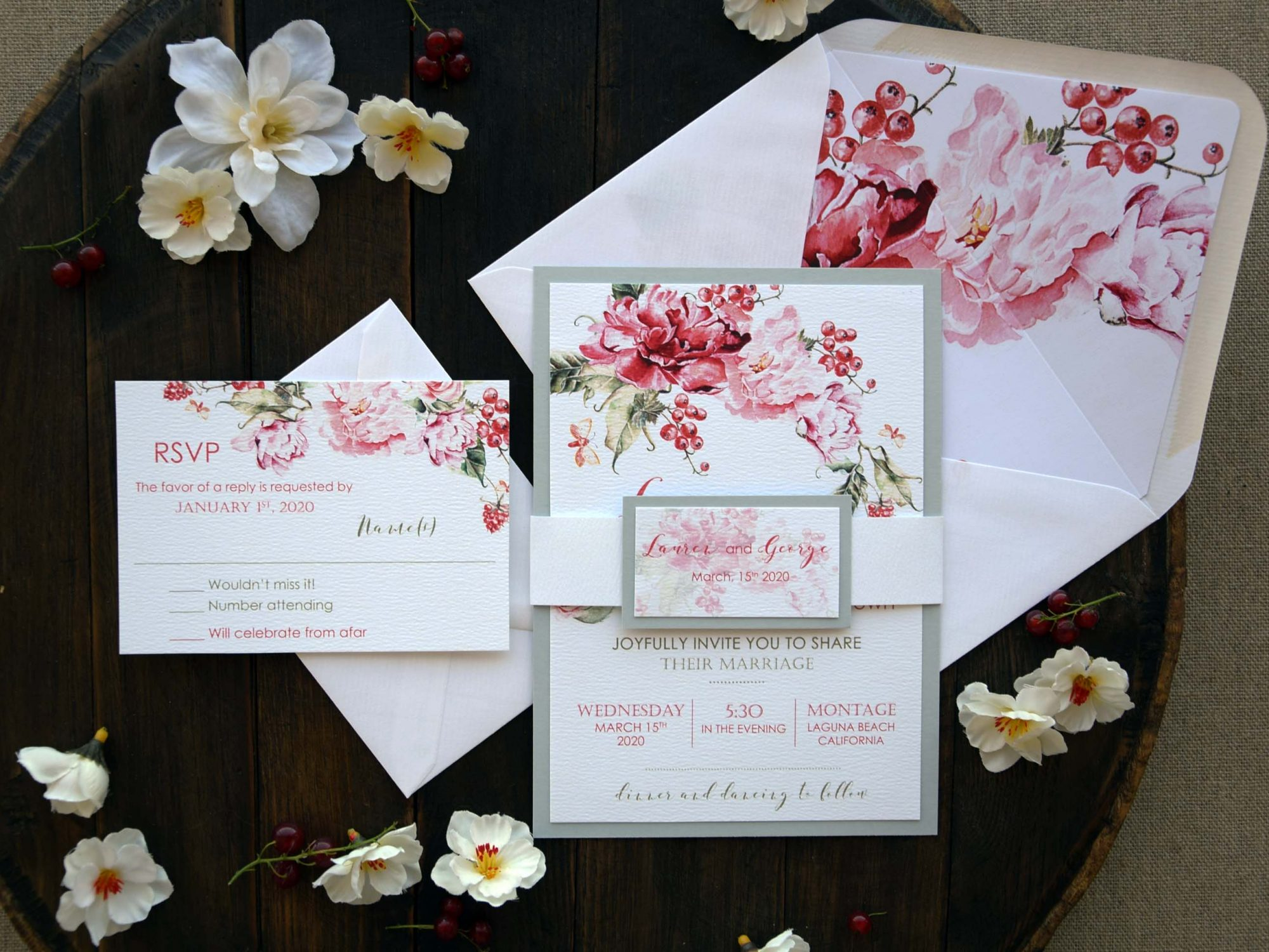 Custom Modern Floral Wedding Invitations