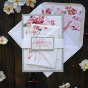 Custom Modern Floral Wedding Invitations