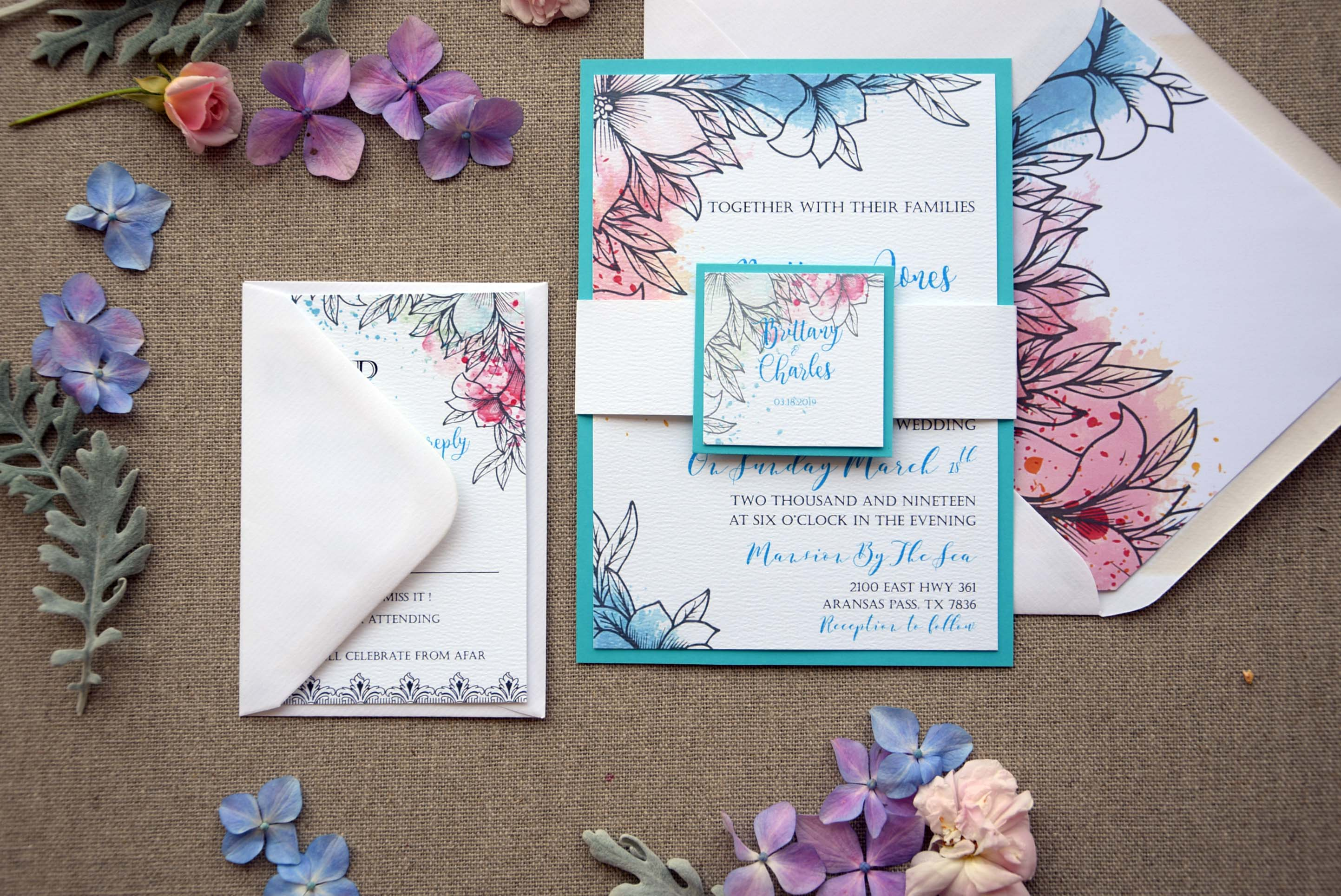 Modern Blue Wedding Invitations