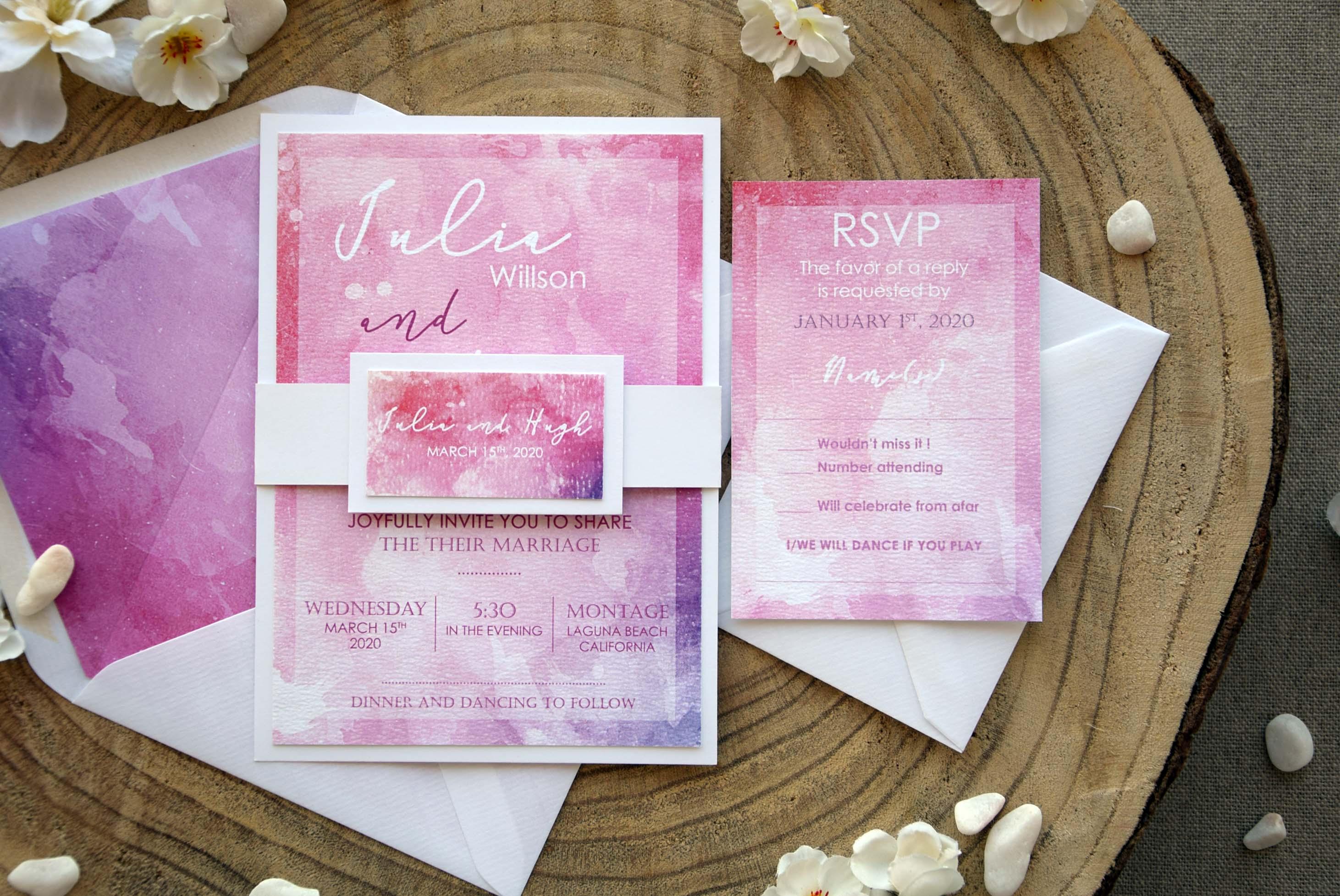 Pink Watercolor Wedding Invitations