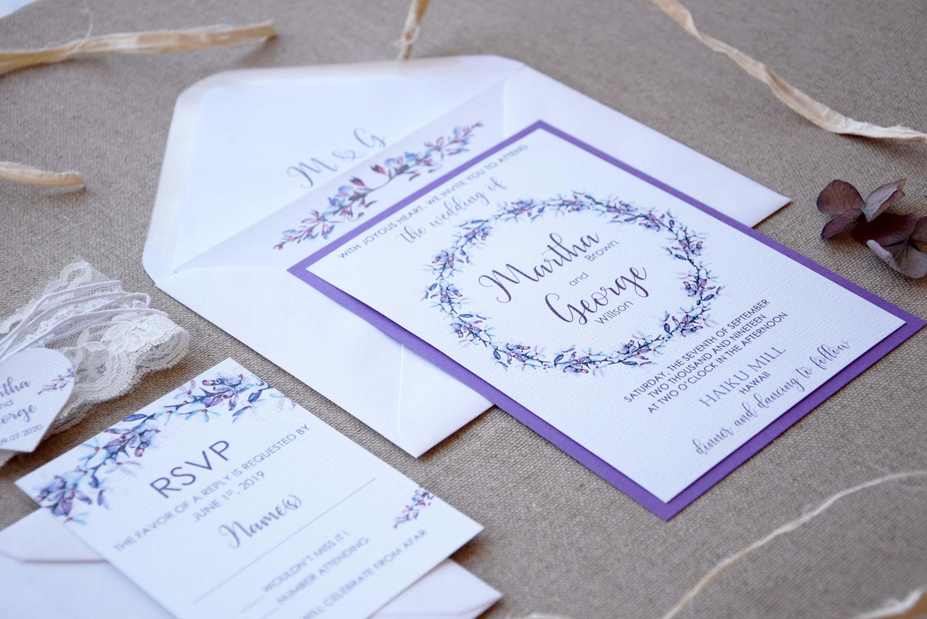 Purple Wreath Wedding Invitations