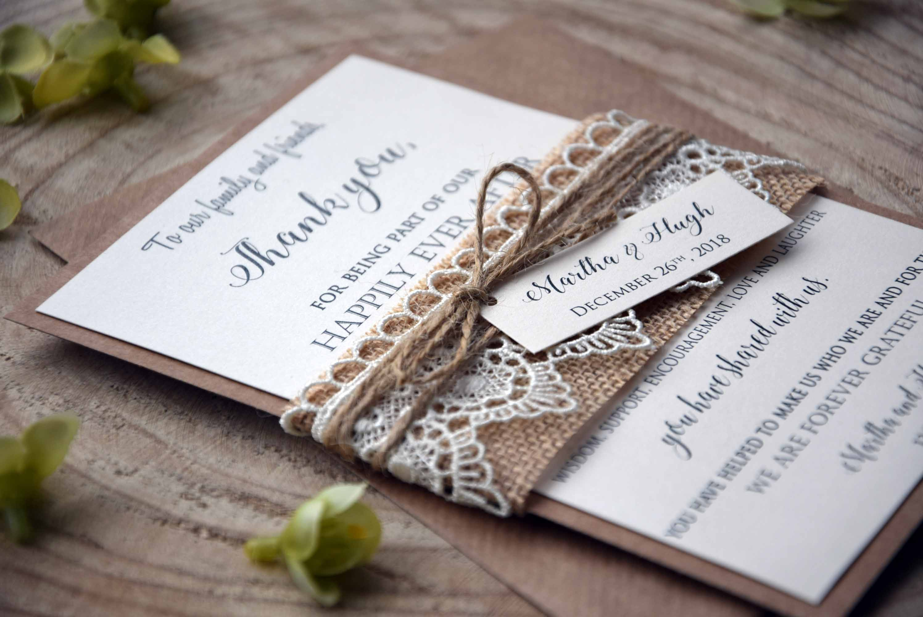 Rustic Lace Thank You Cards