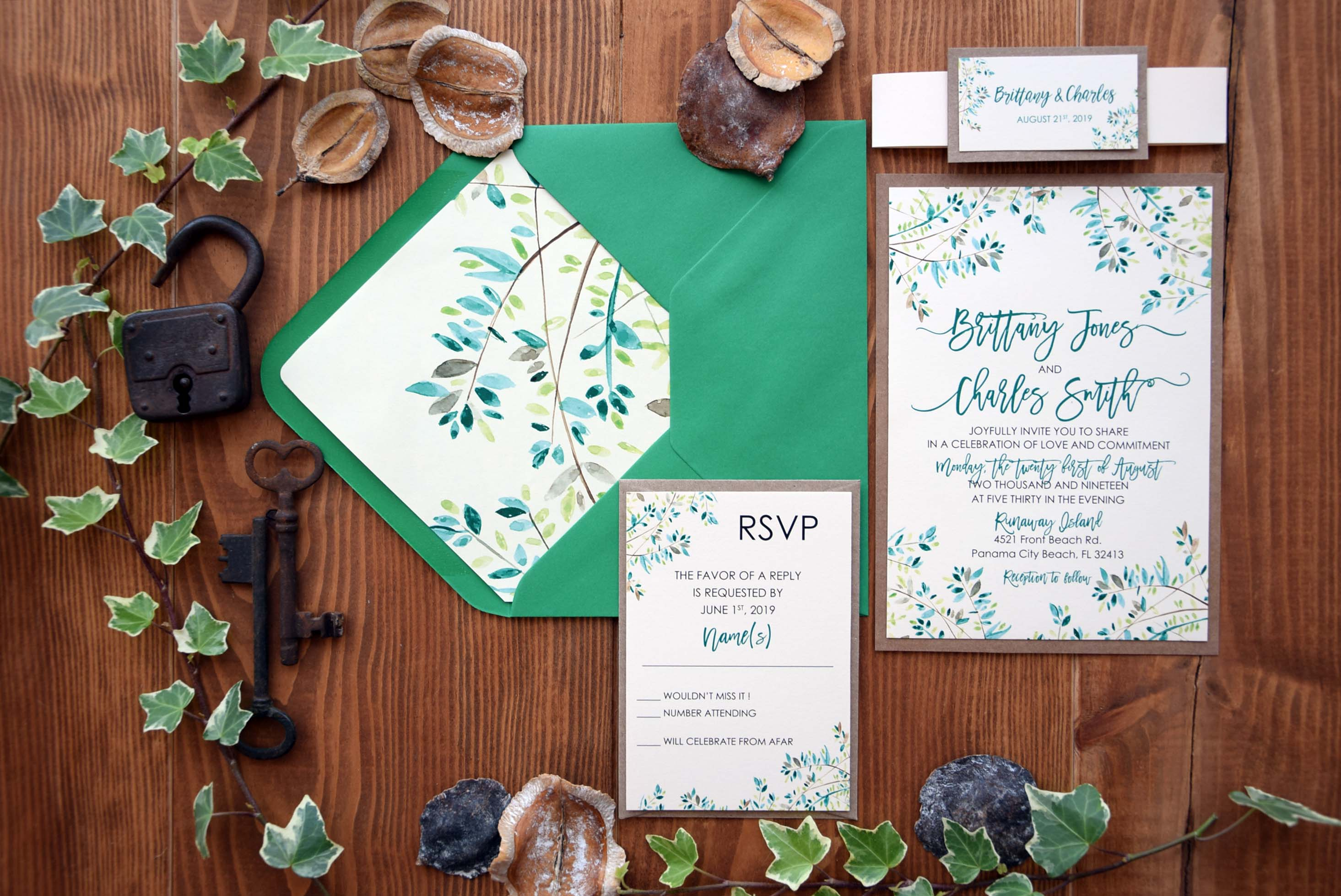 Rustic Nature Green Wedding Invitations Leafs Wedding Invites