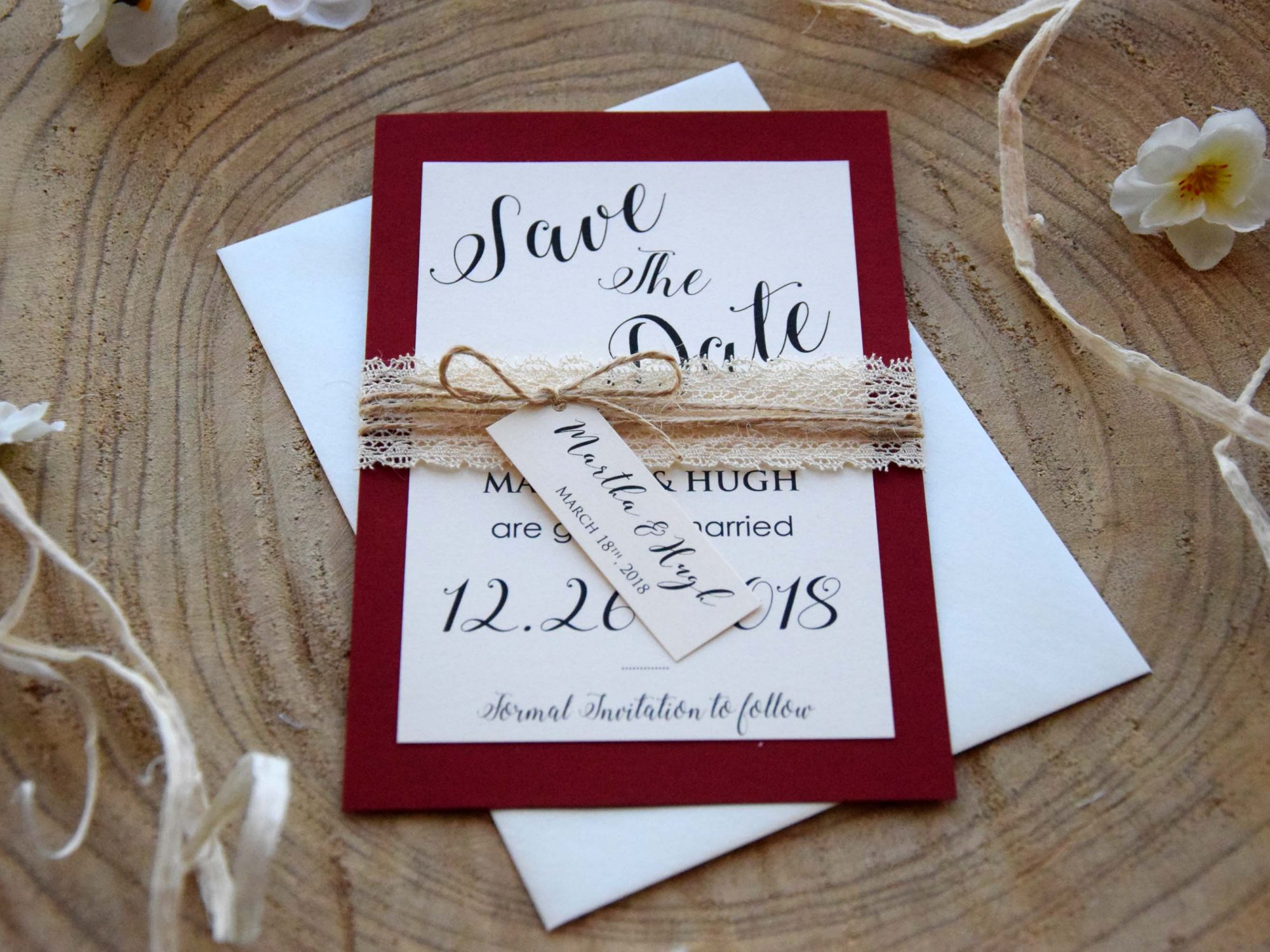 Burgundy Wedding Save the Date Cards