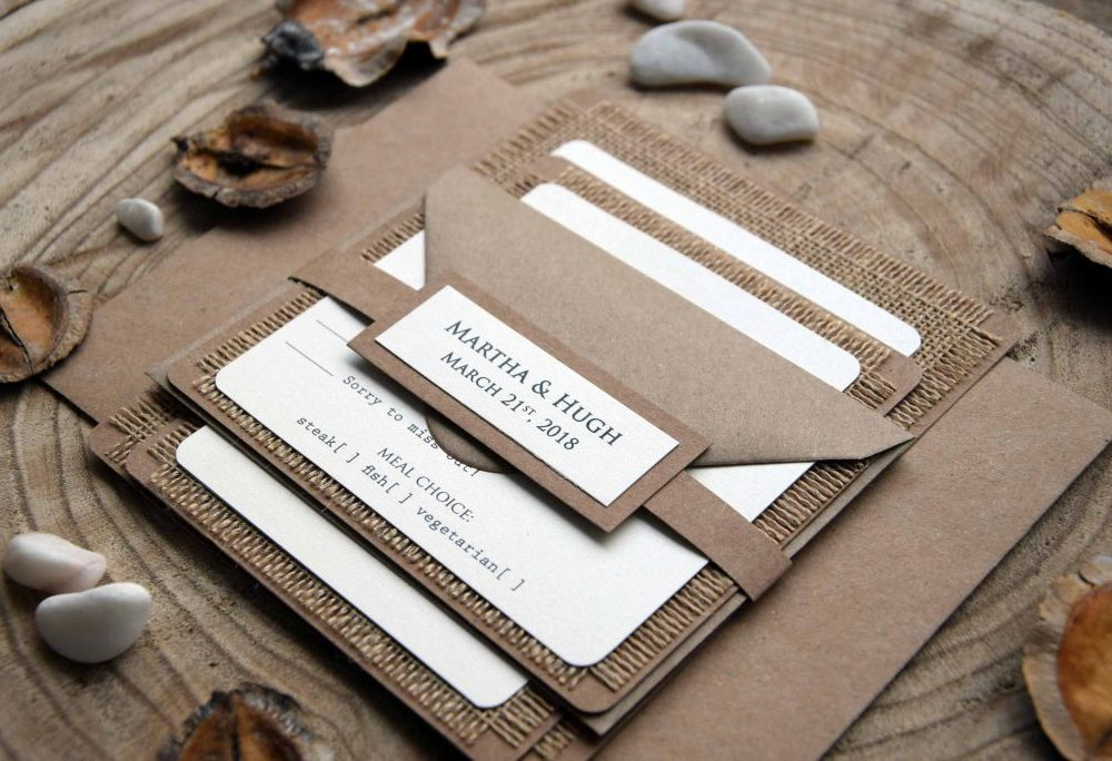 Country Burlap Wedding Invitations