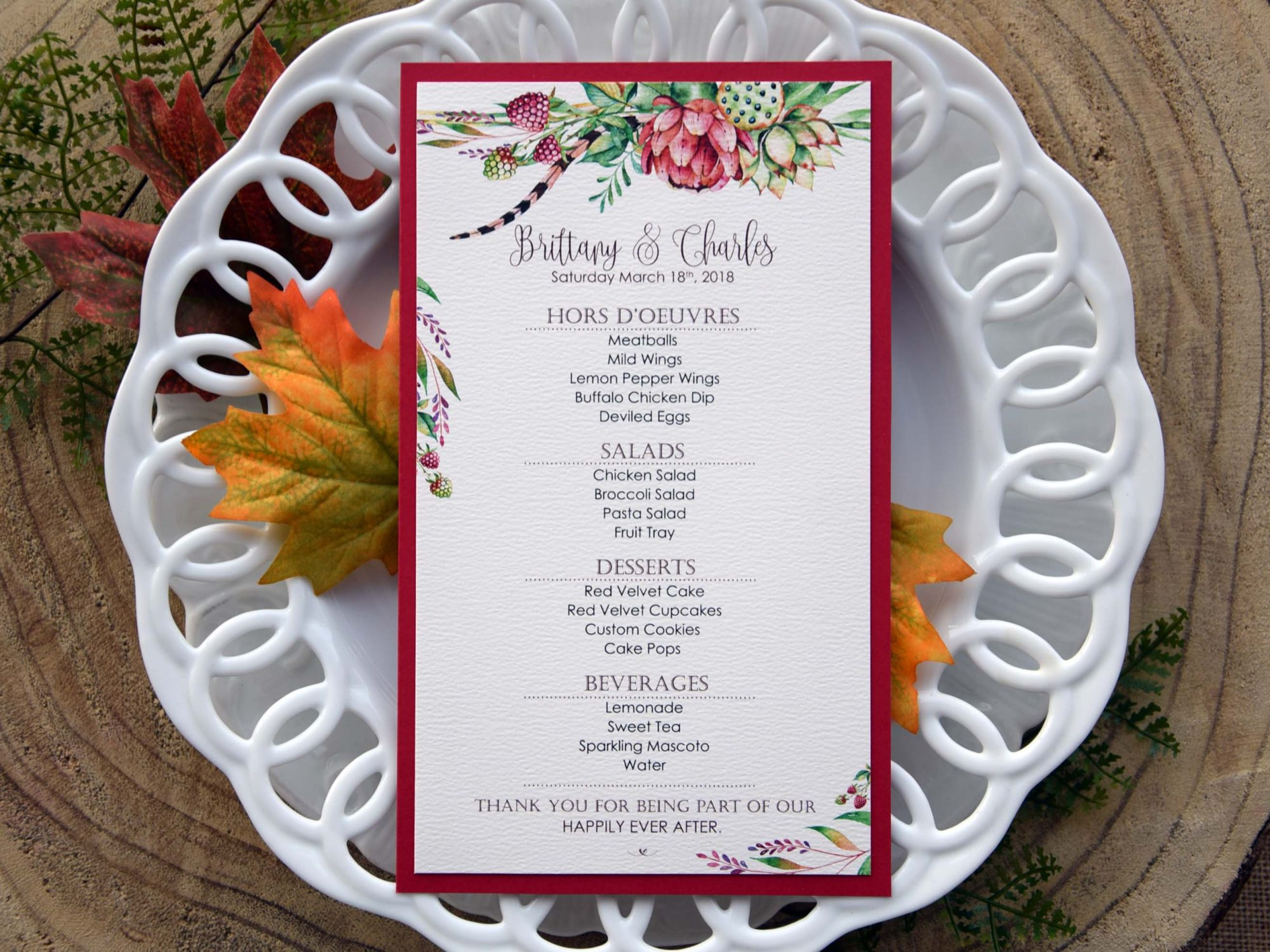 Tropical Wedding Dinner Menu