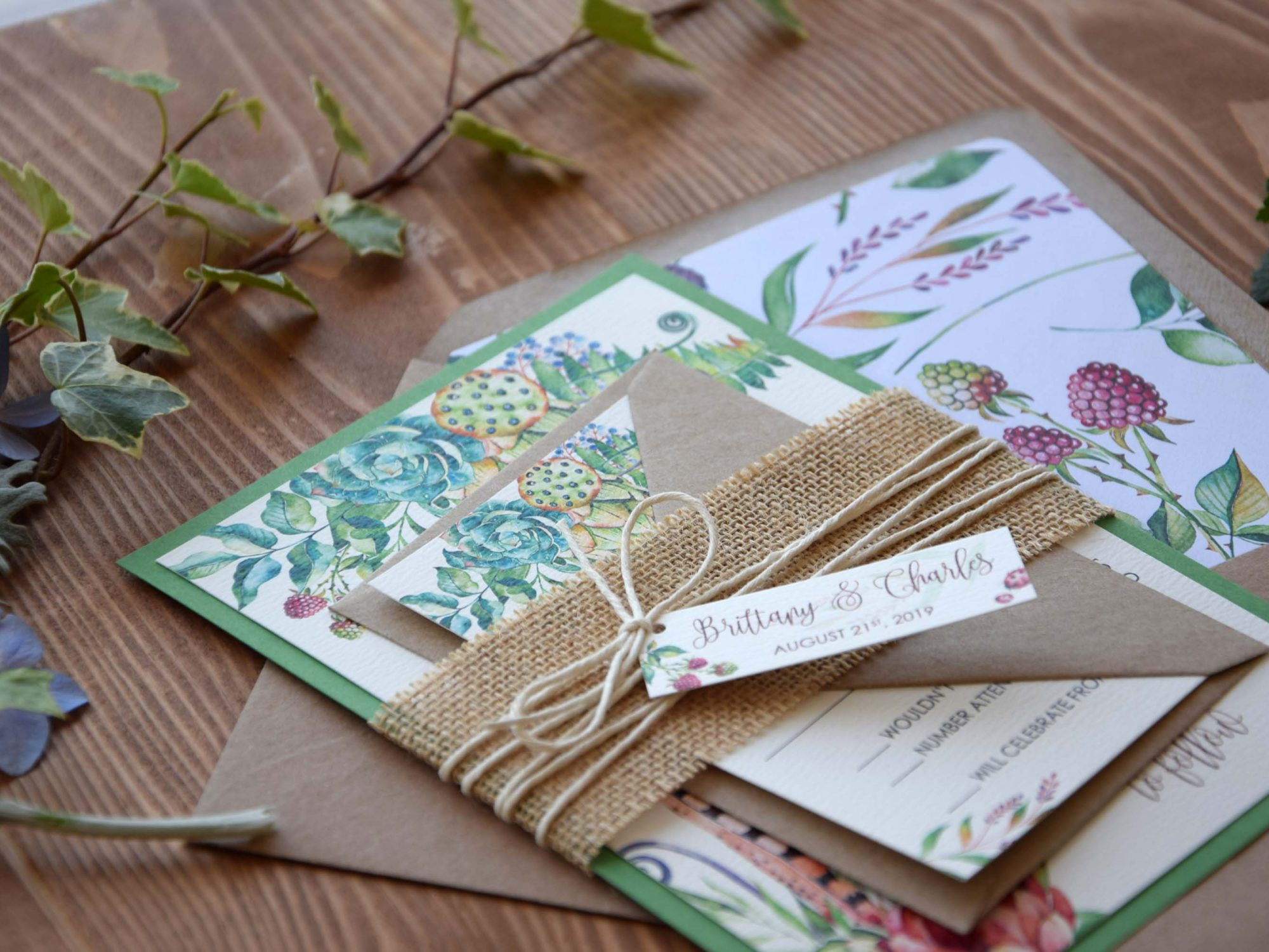 Watercolor Greenery Wedding Invitations