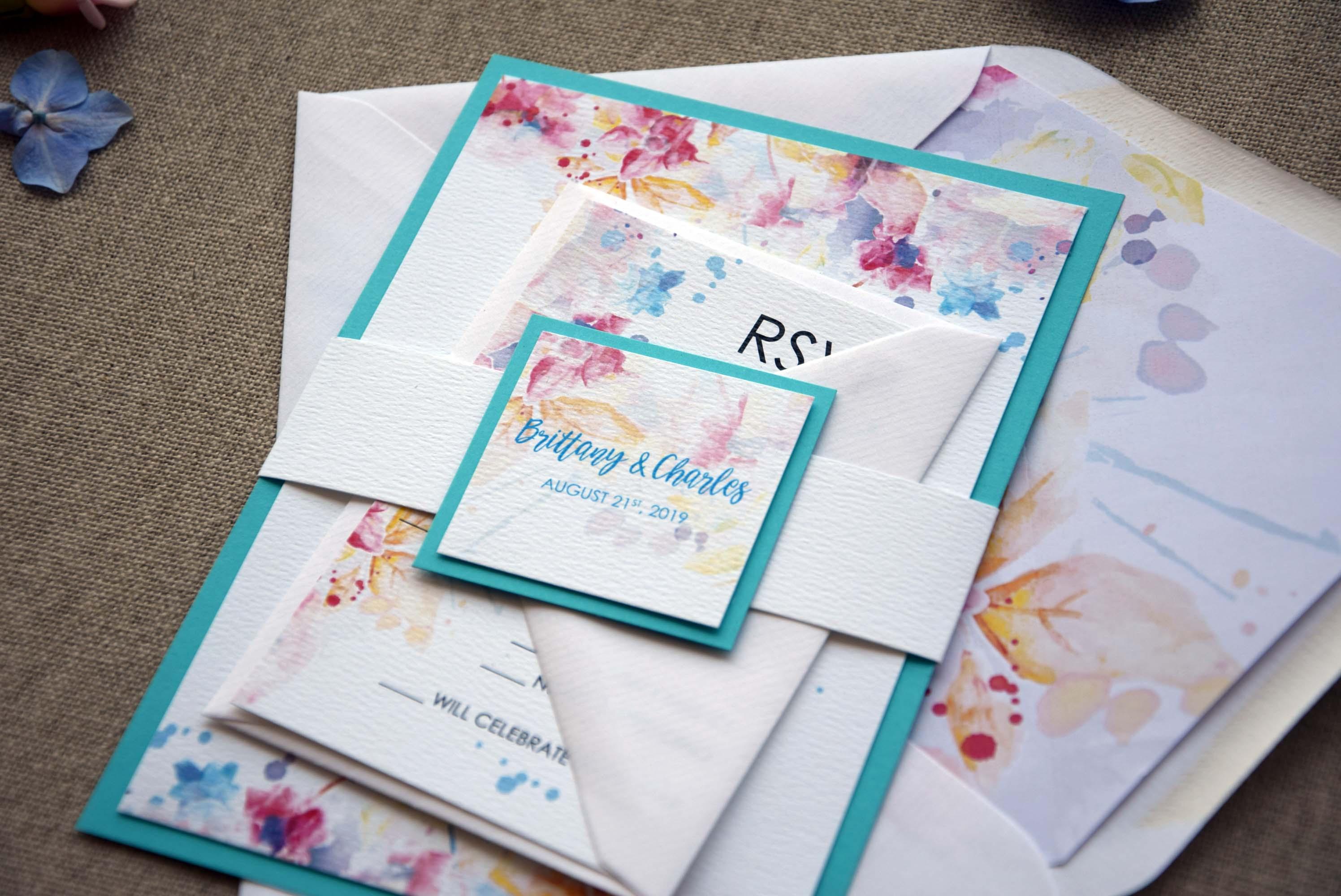 Watercolor Blue Invitations