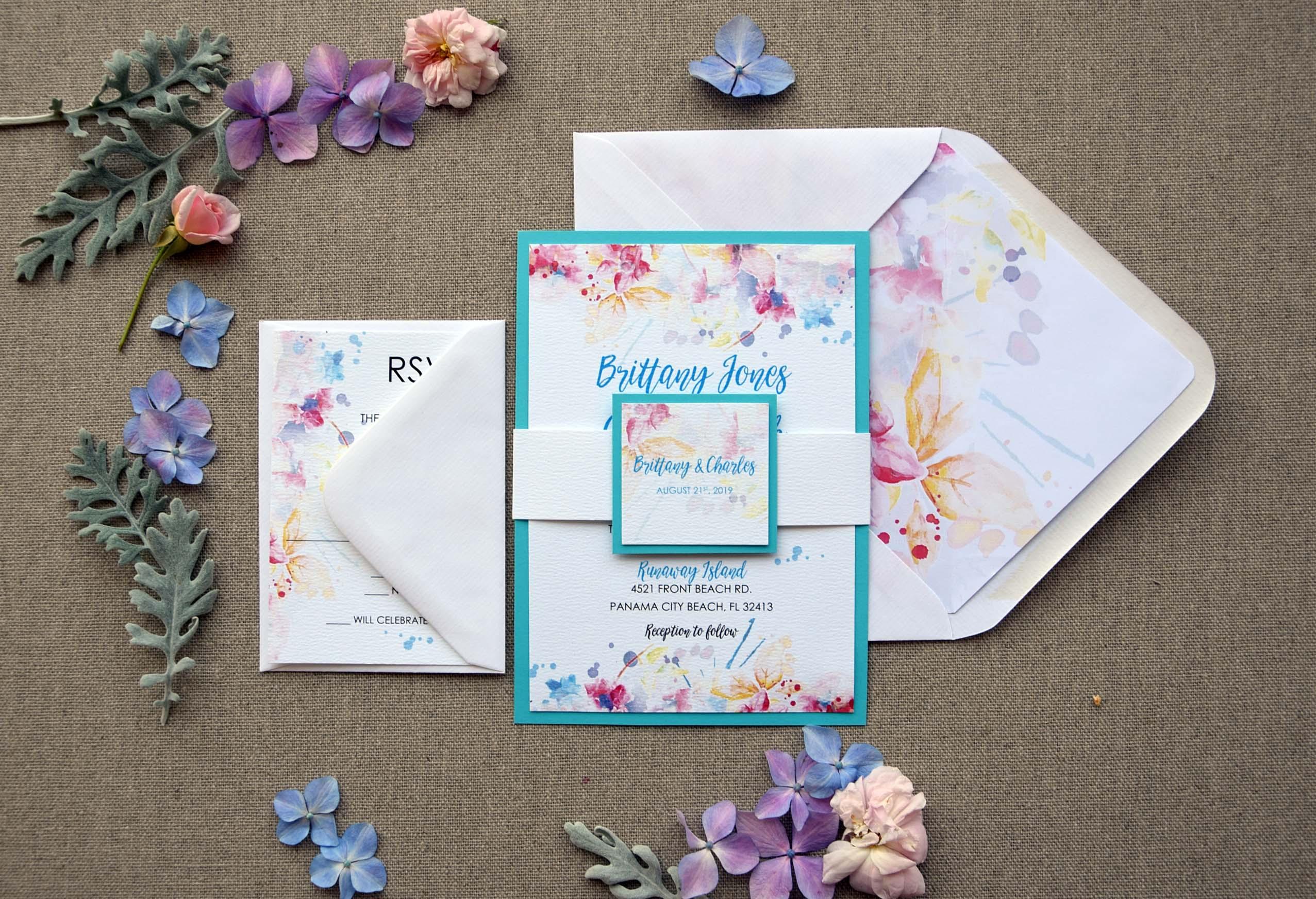 Watercolor Tiffany Blue Wedding InvitationsWatercolor Blue Invitations