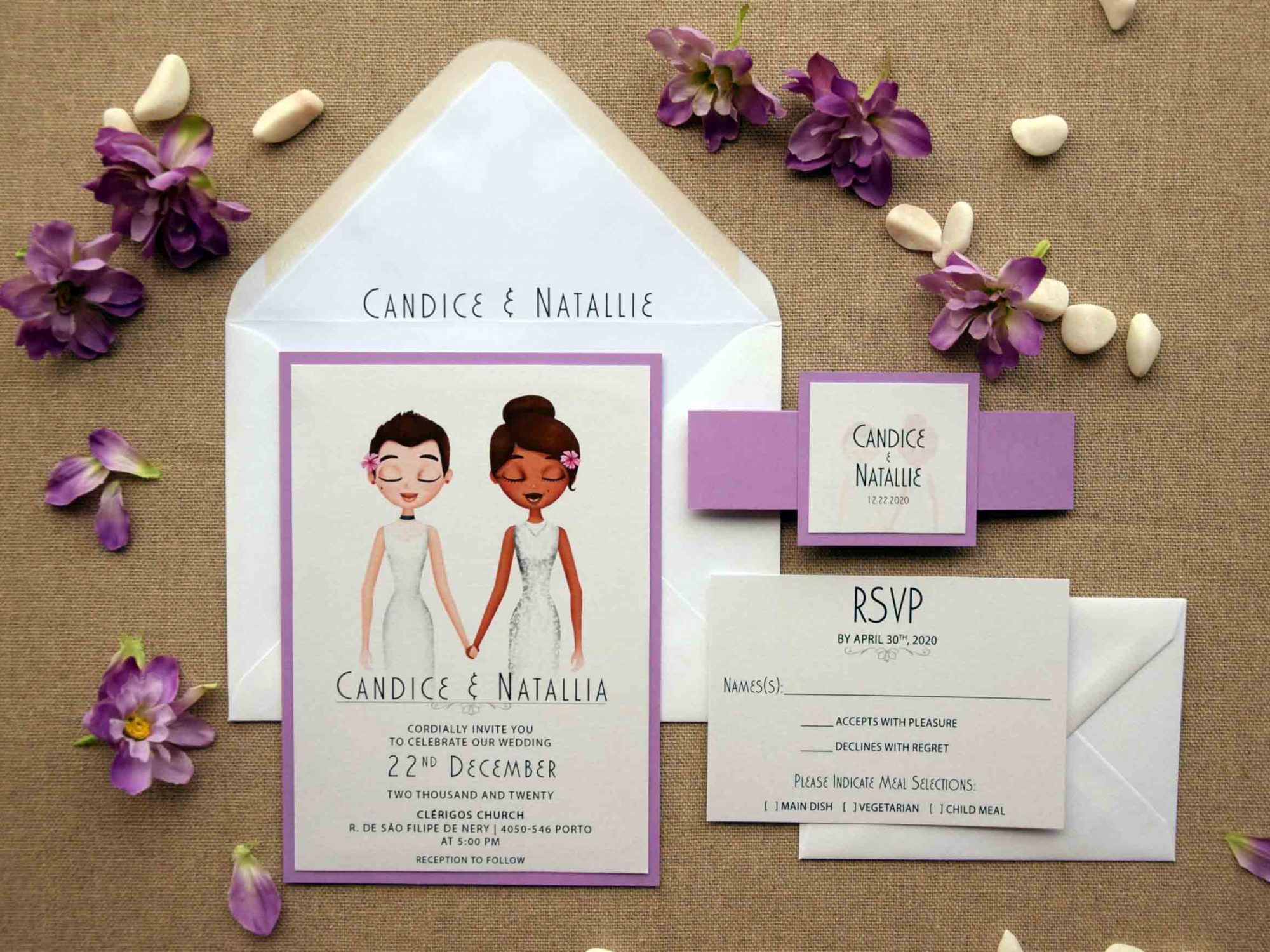 Lilac Portrait Wedding Invitations
