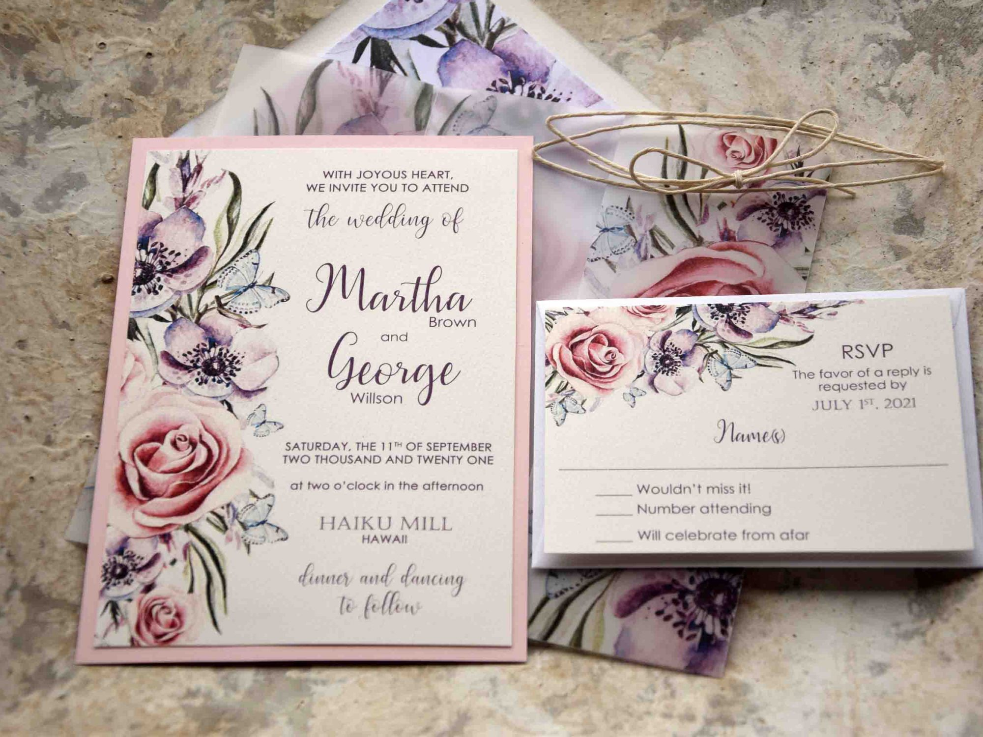 Floral Romantic Wedding Invitations