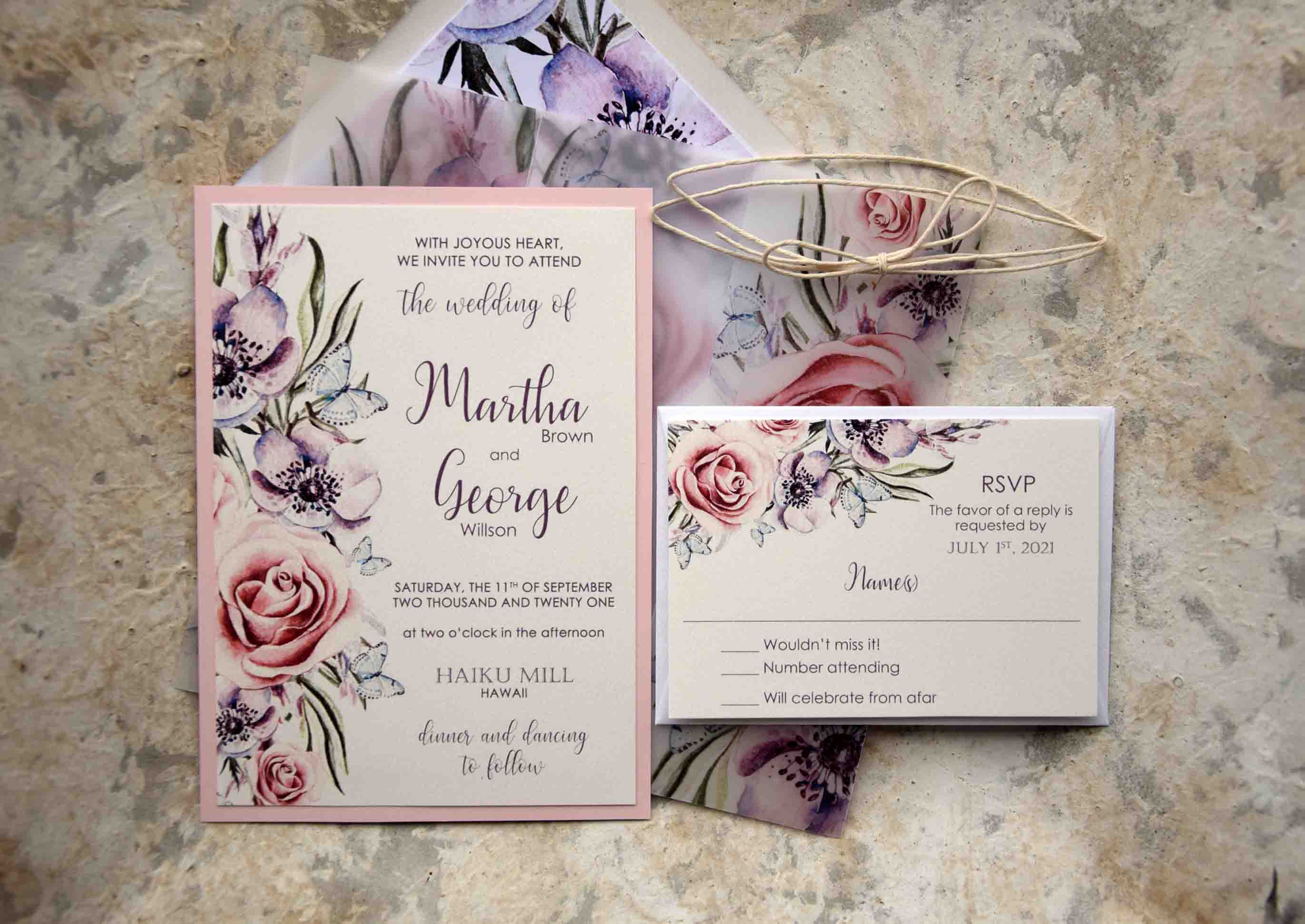 Floral Romantic Wedding Invitations Custom Modern Wedding