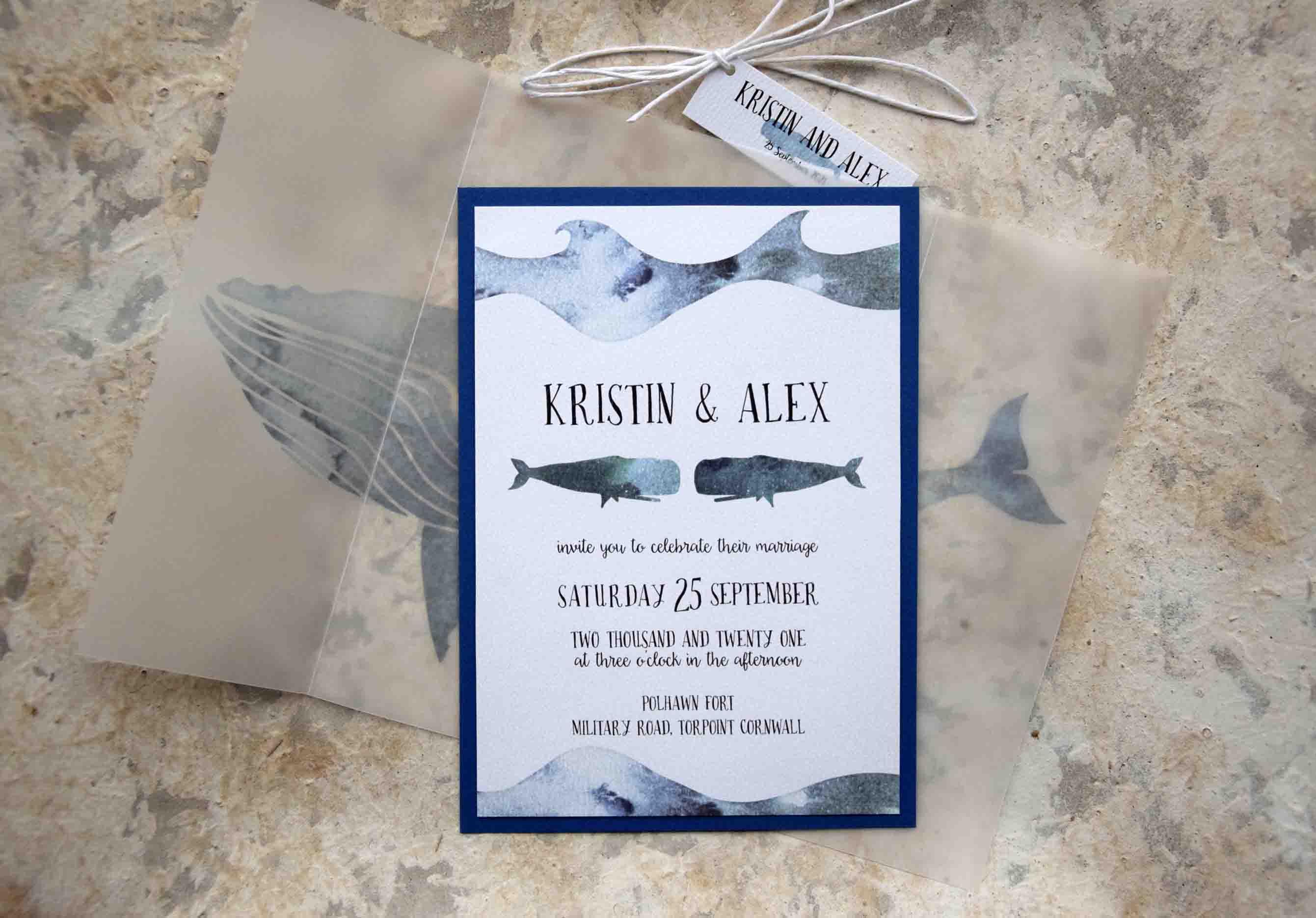 Whales Nautical Wedding Invitations