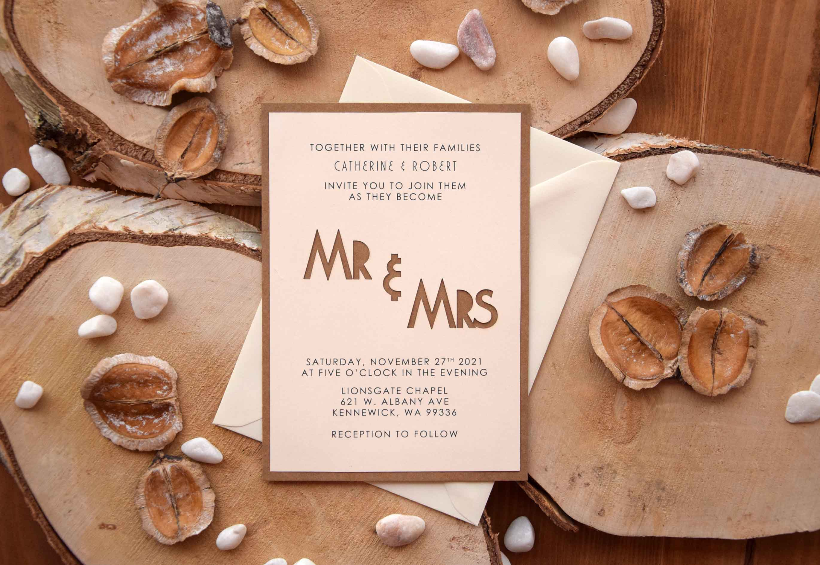 Mr and Mrs Laser Cut Invitations