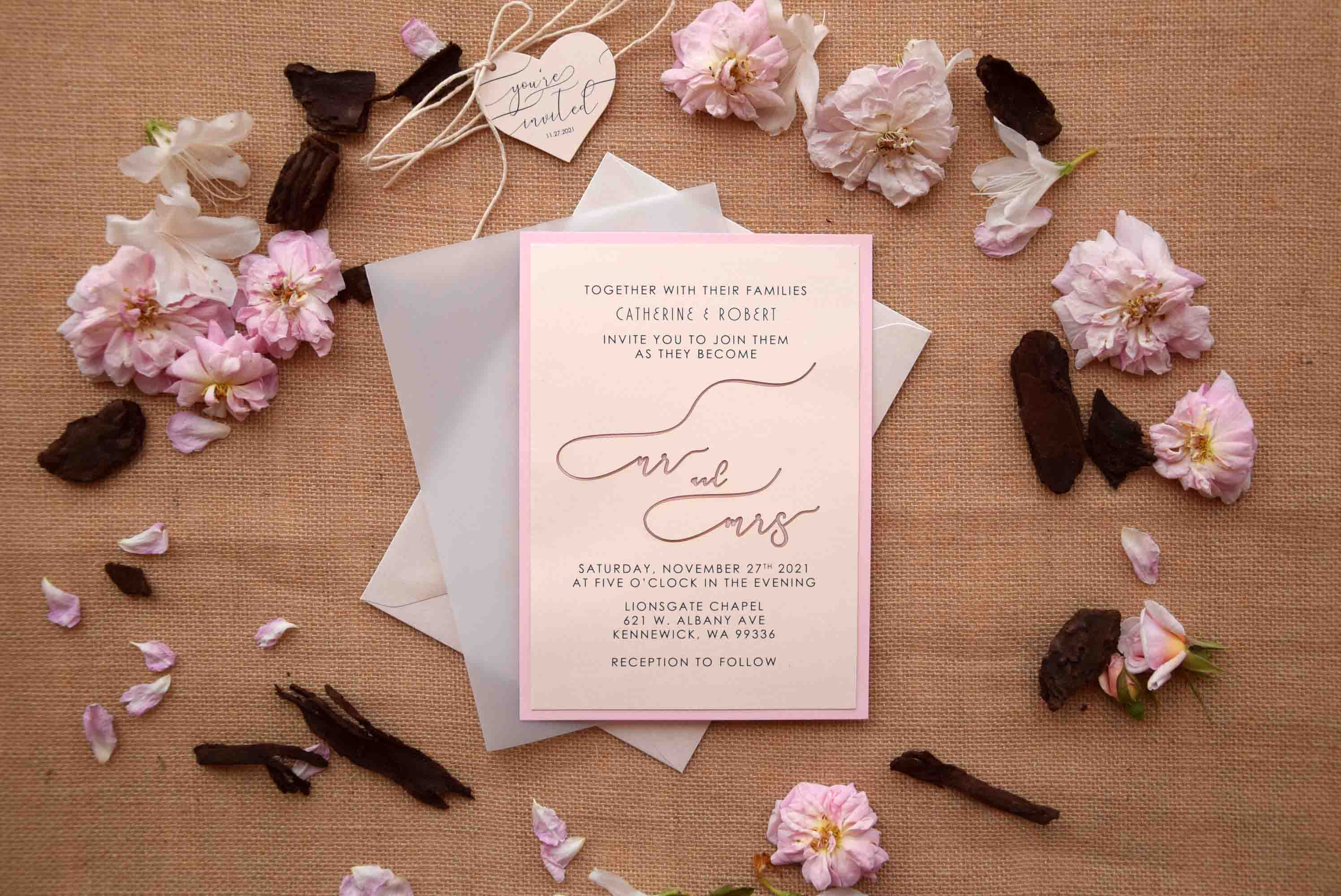 Pink Romantic Laser Cut Invitations