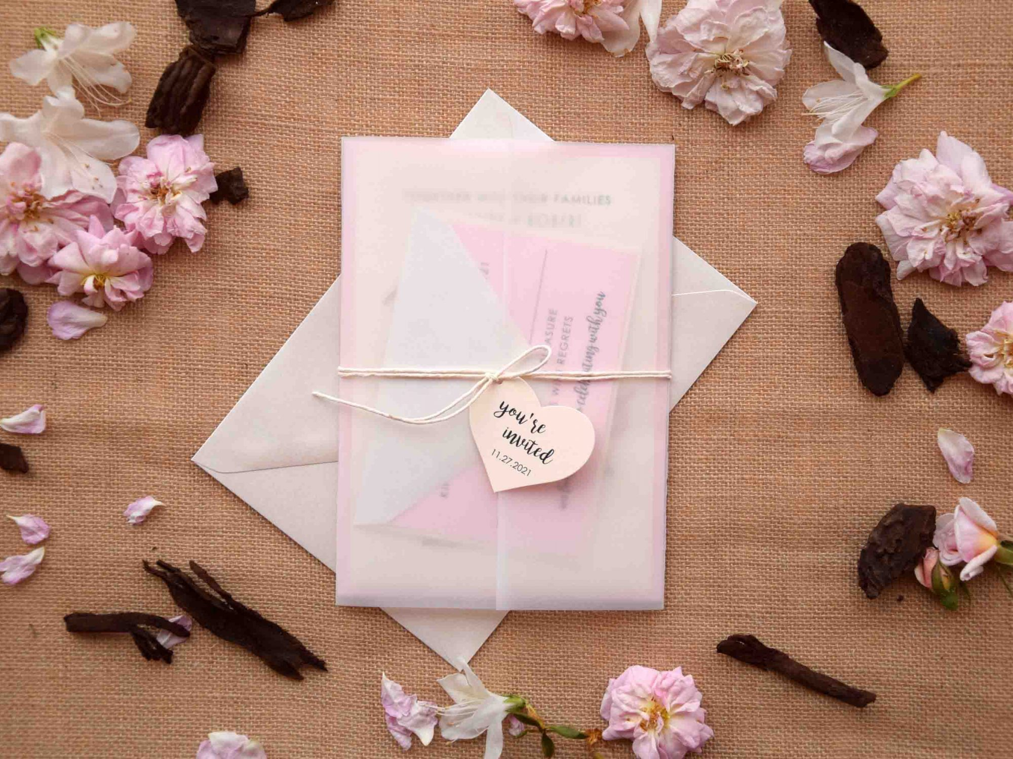 Romantic Pink Laser Cut Invitations
