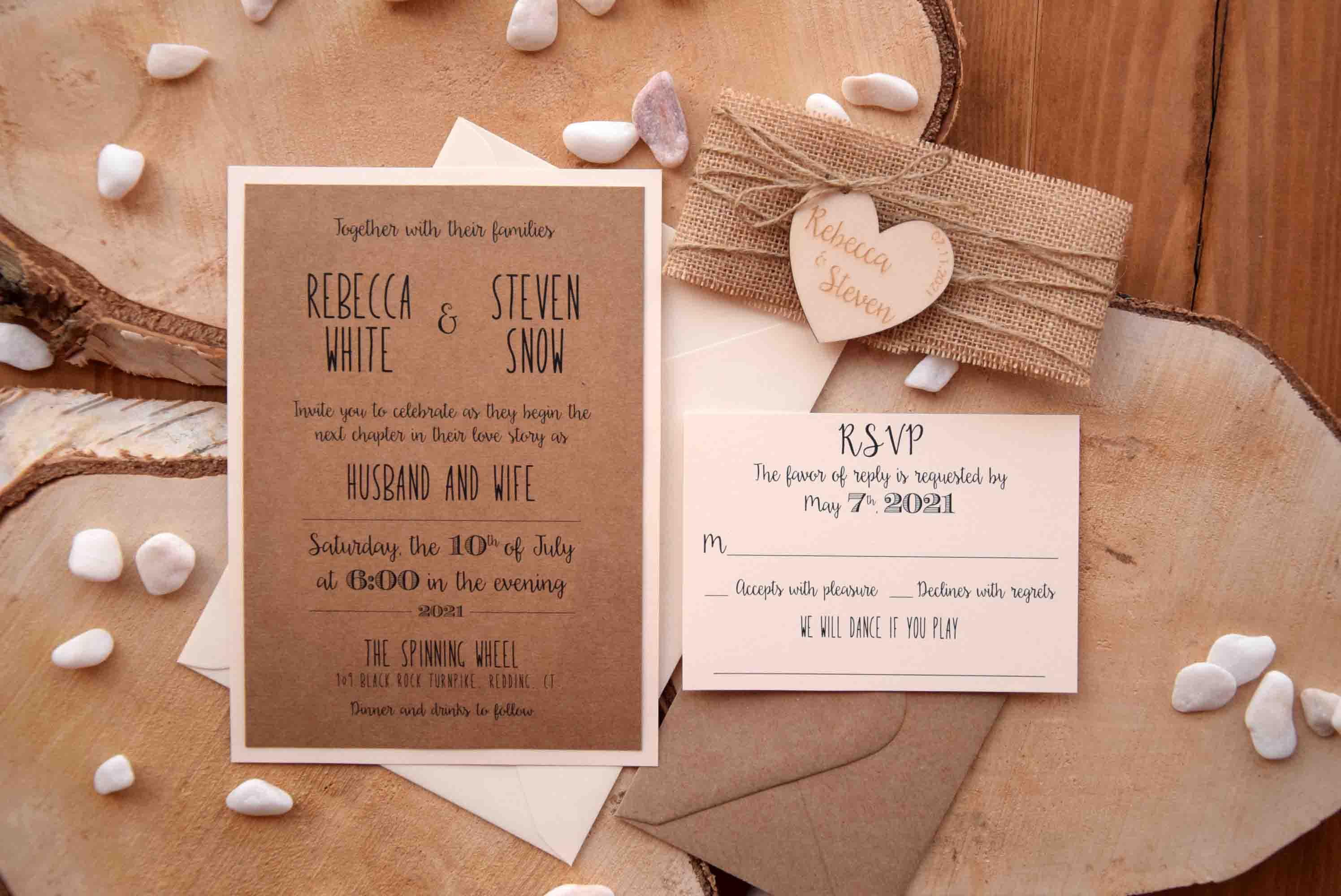 Rustic Wedding Invitation With Wood Heart, Wood Rustic Invites