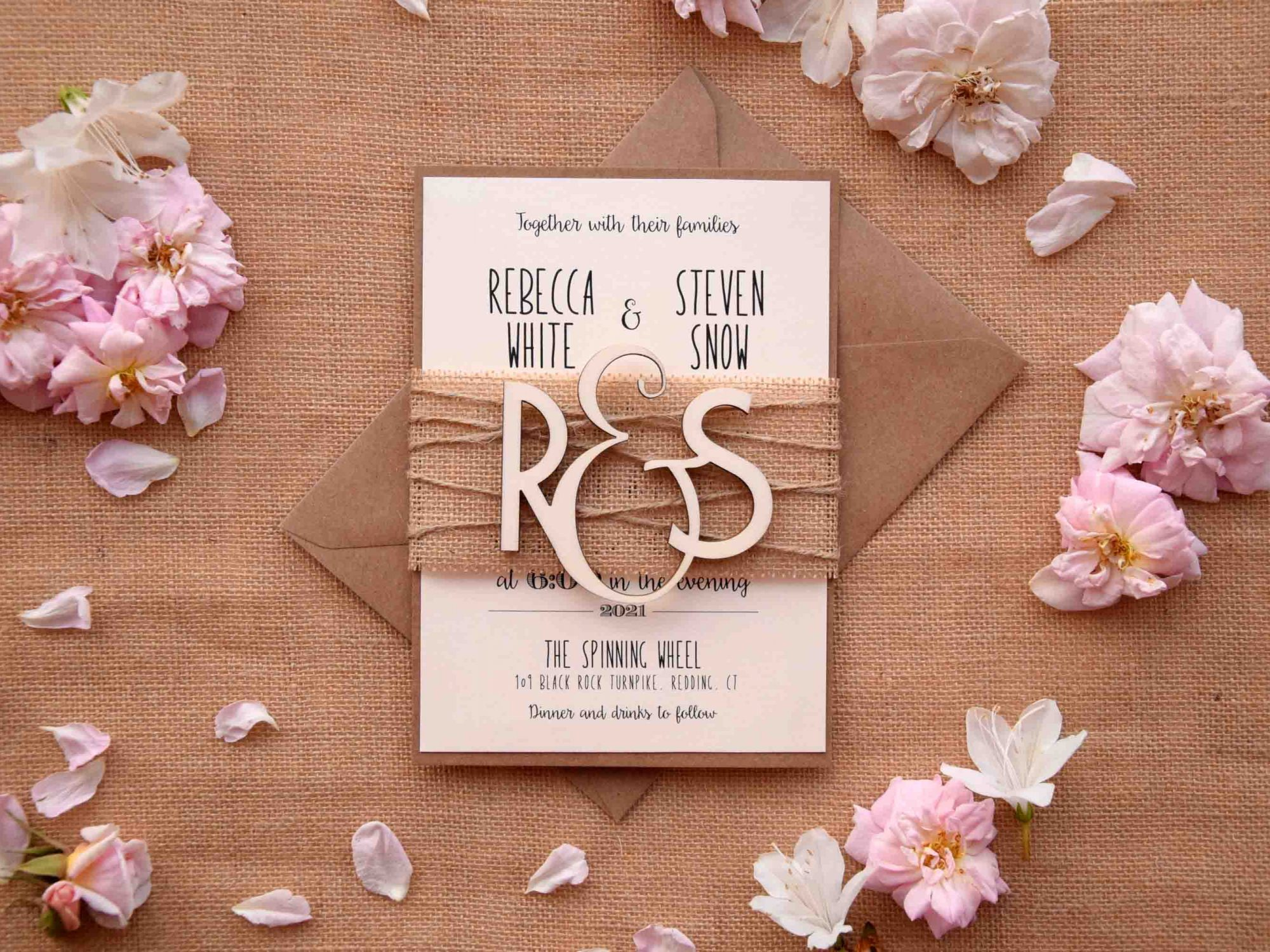 Wood Monogram Wedding Invitations