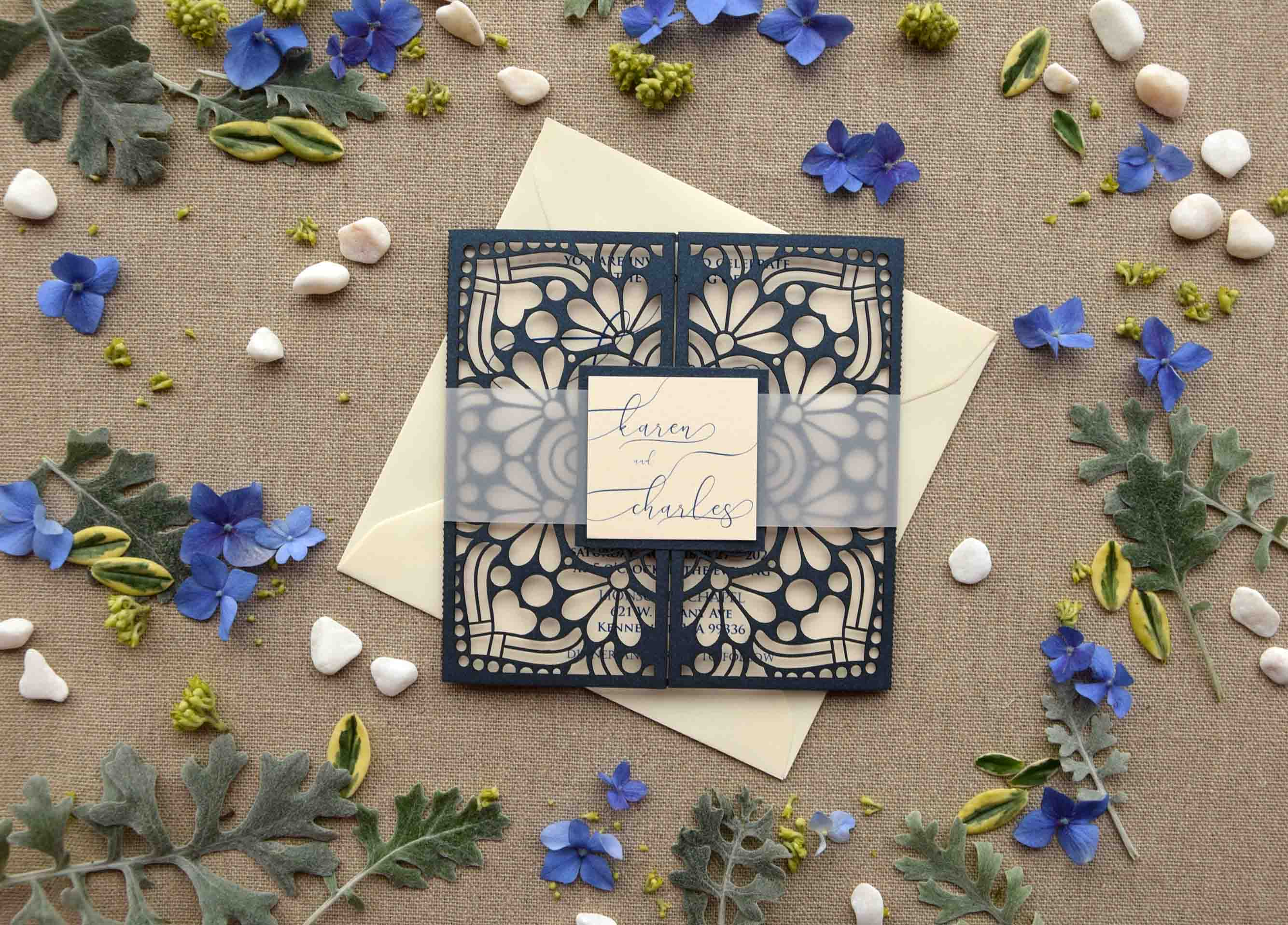 Navy Blue Pocketfold Wedding Invitations