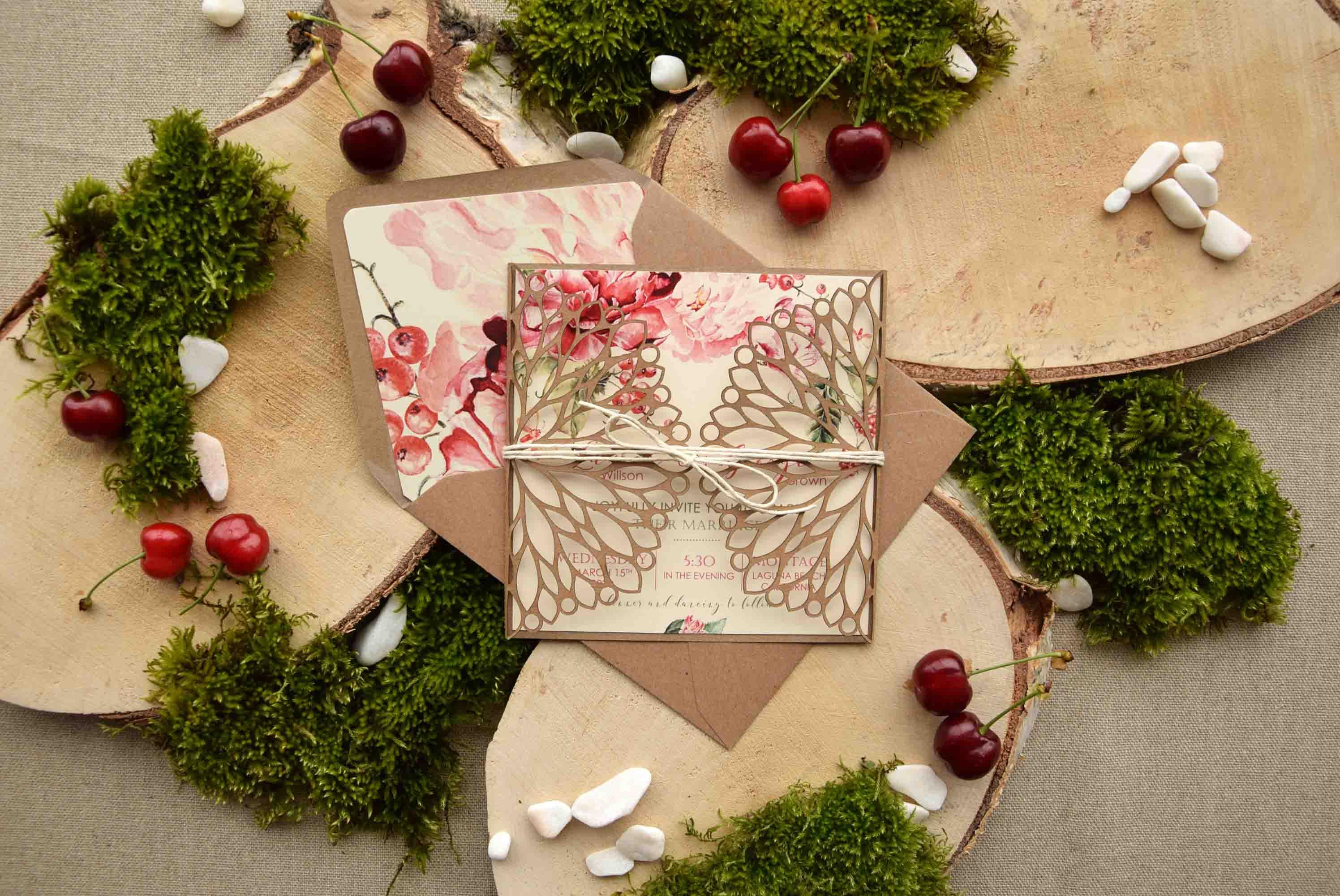 Floral Rustic Laser Cut Wedding Invitations