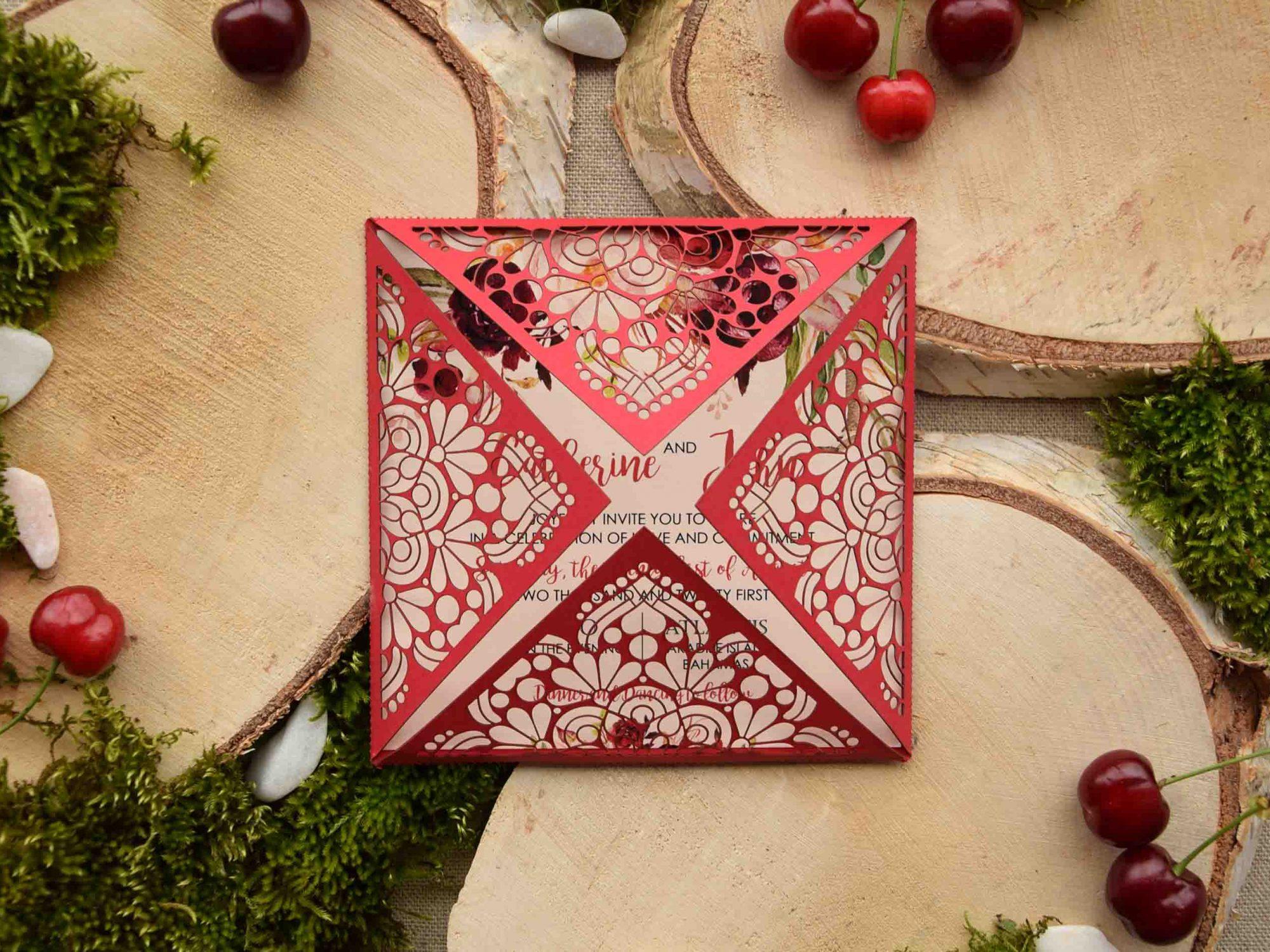 Red Pocketfold Wedding Invitations