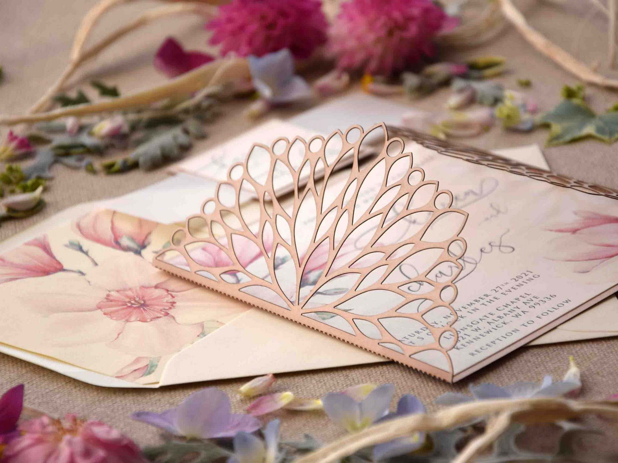 Nude Caligraphy Laser Cut Invitations
