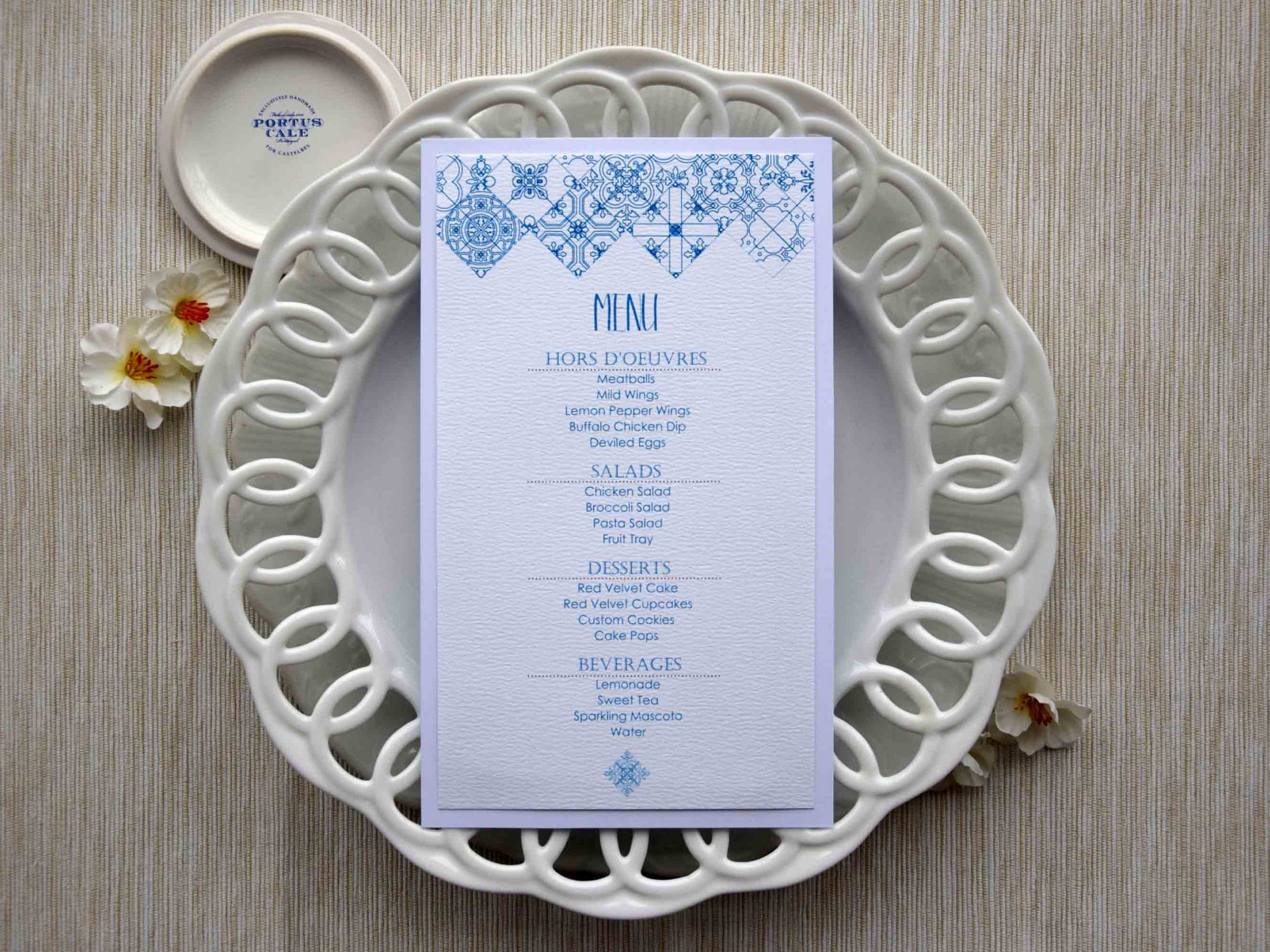 Blue Tile Dinner Menus