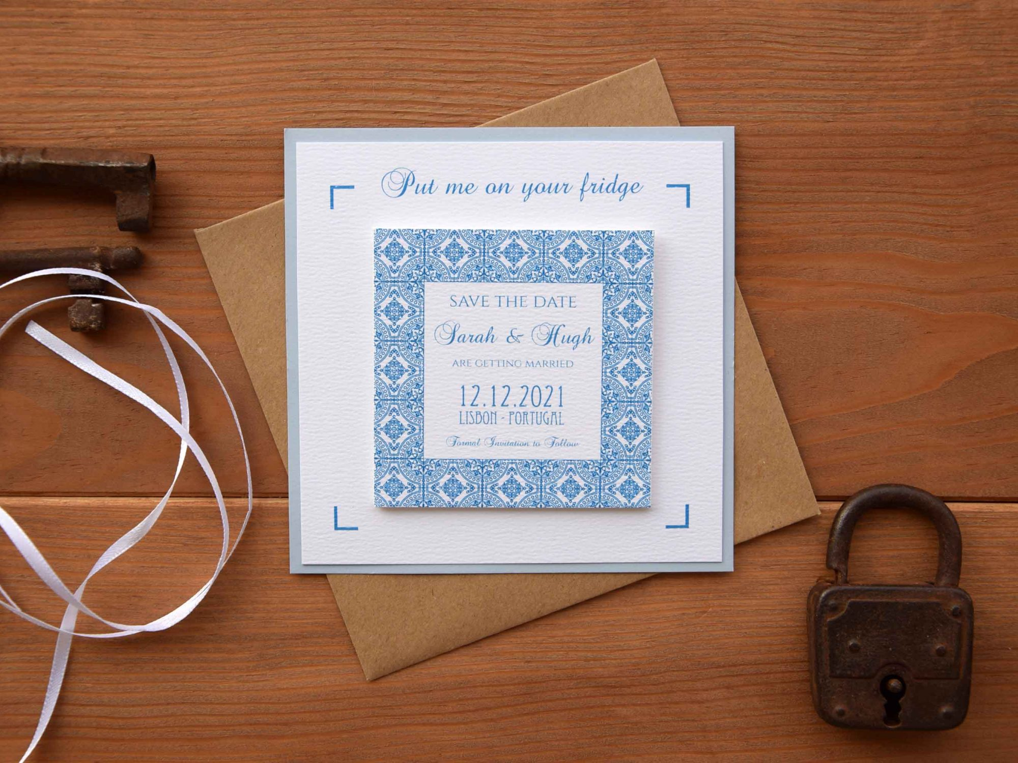 Blue Tile Magnet Save The Dates