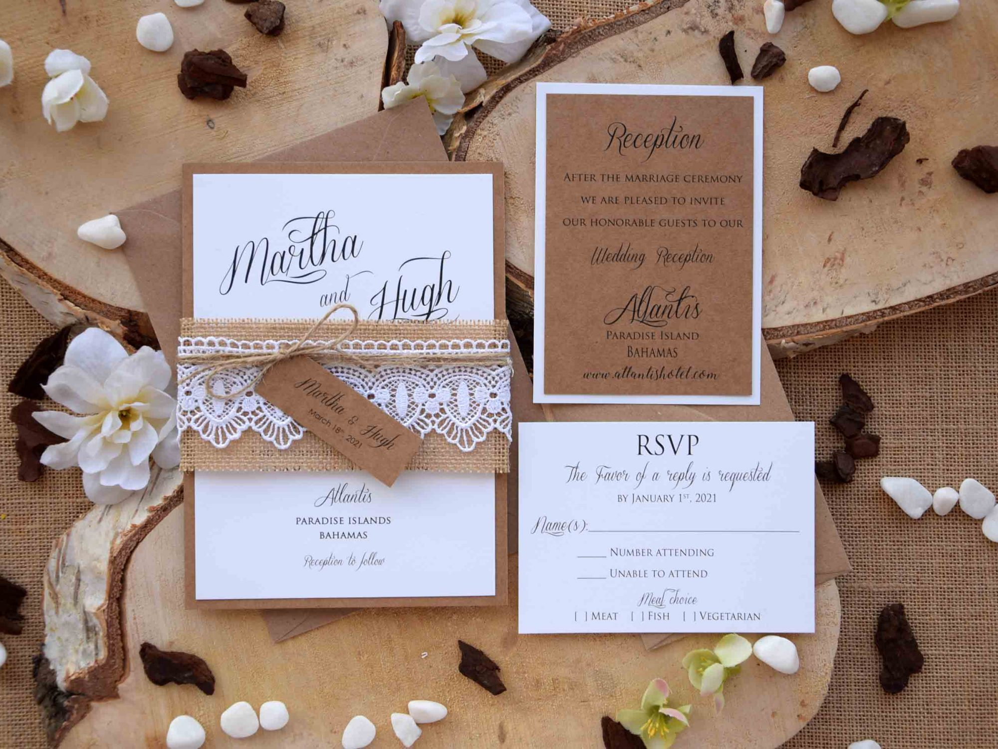 Country Rustic Wedding Invites