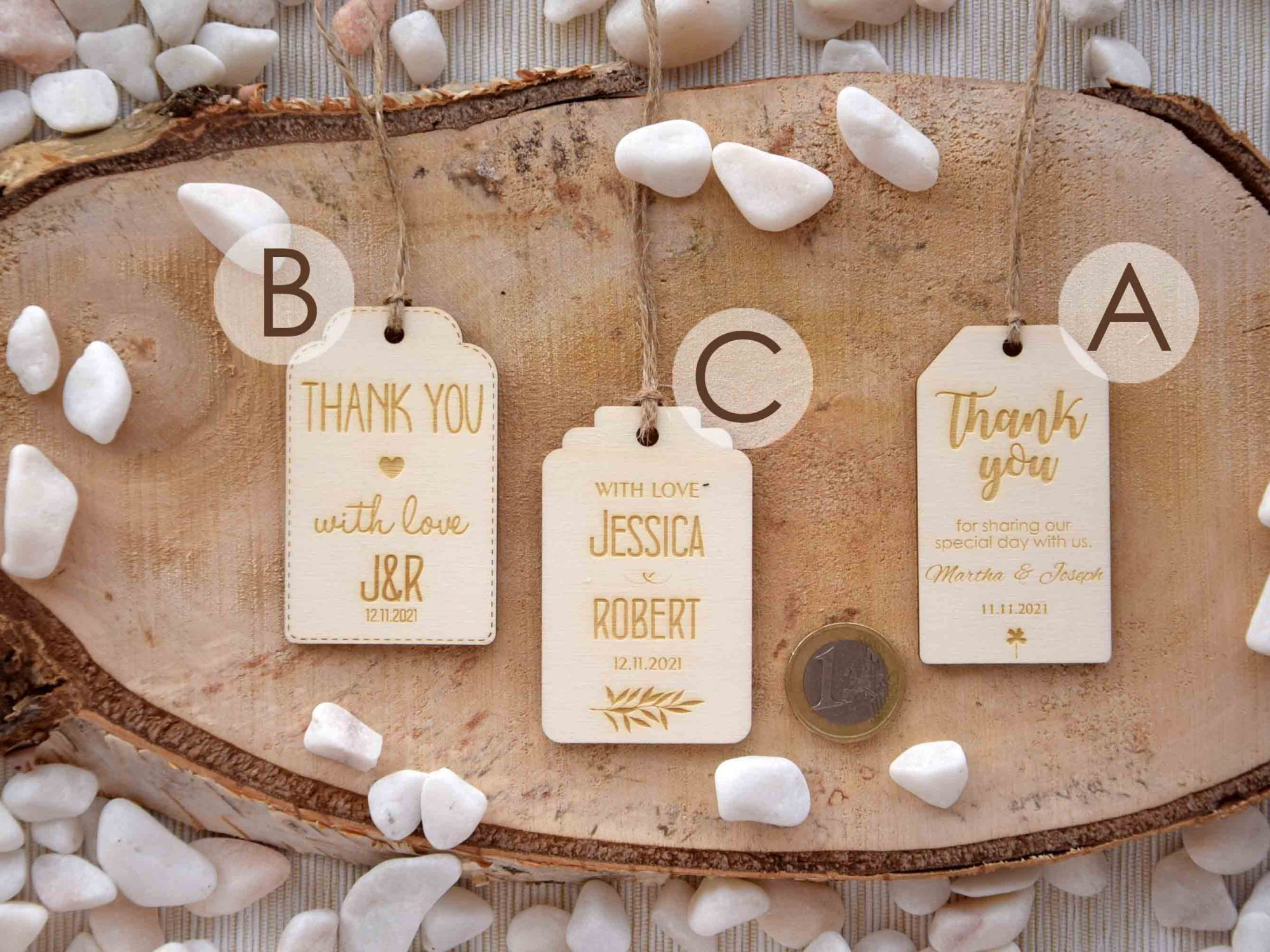 Pack of 10 Wooden Thank You Tags