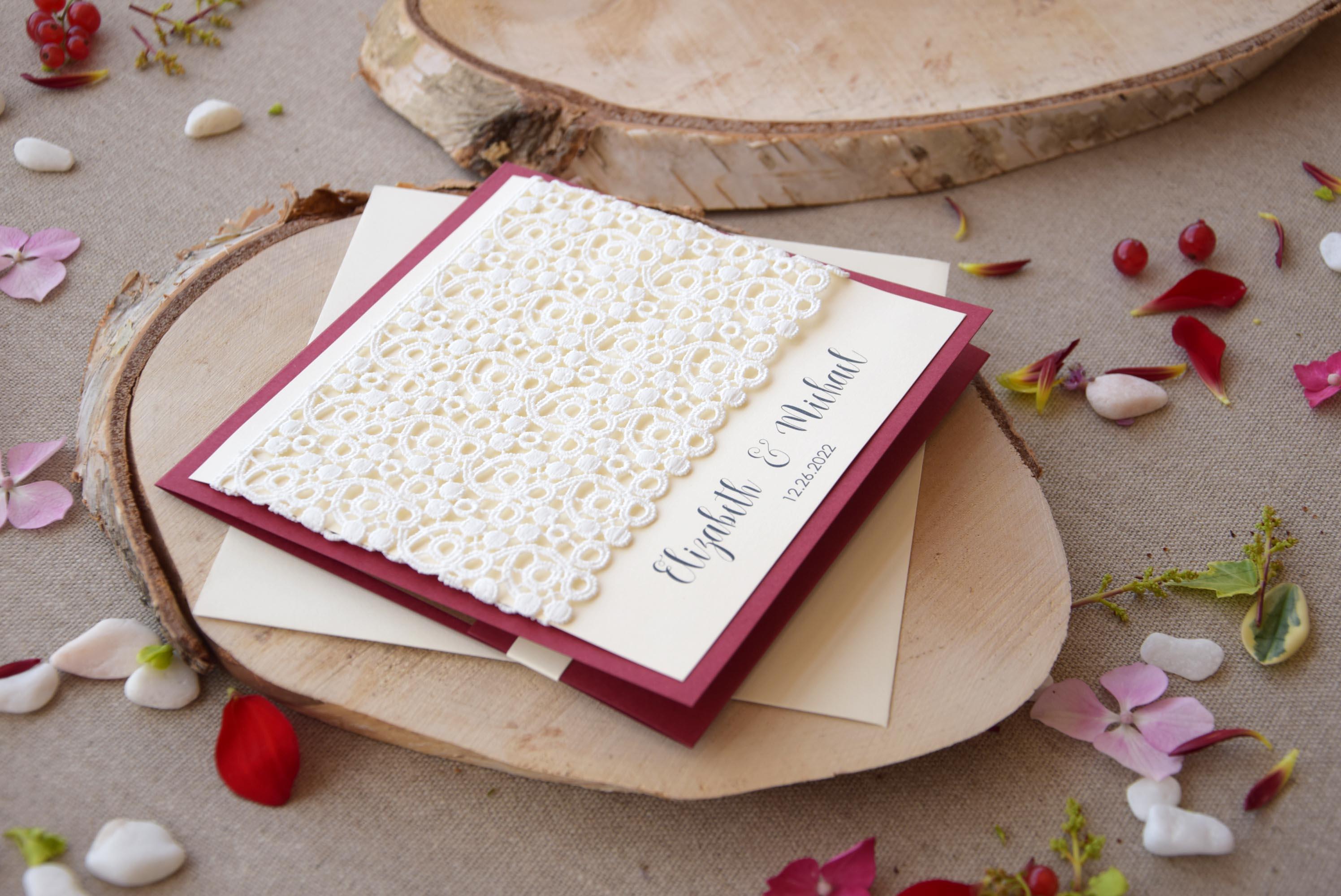 Burgundy Wedding Invitation #rusticinvitations #laceweddinginvitations #rusticwedding #rusticlaceweddinginvitations