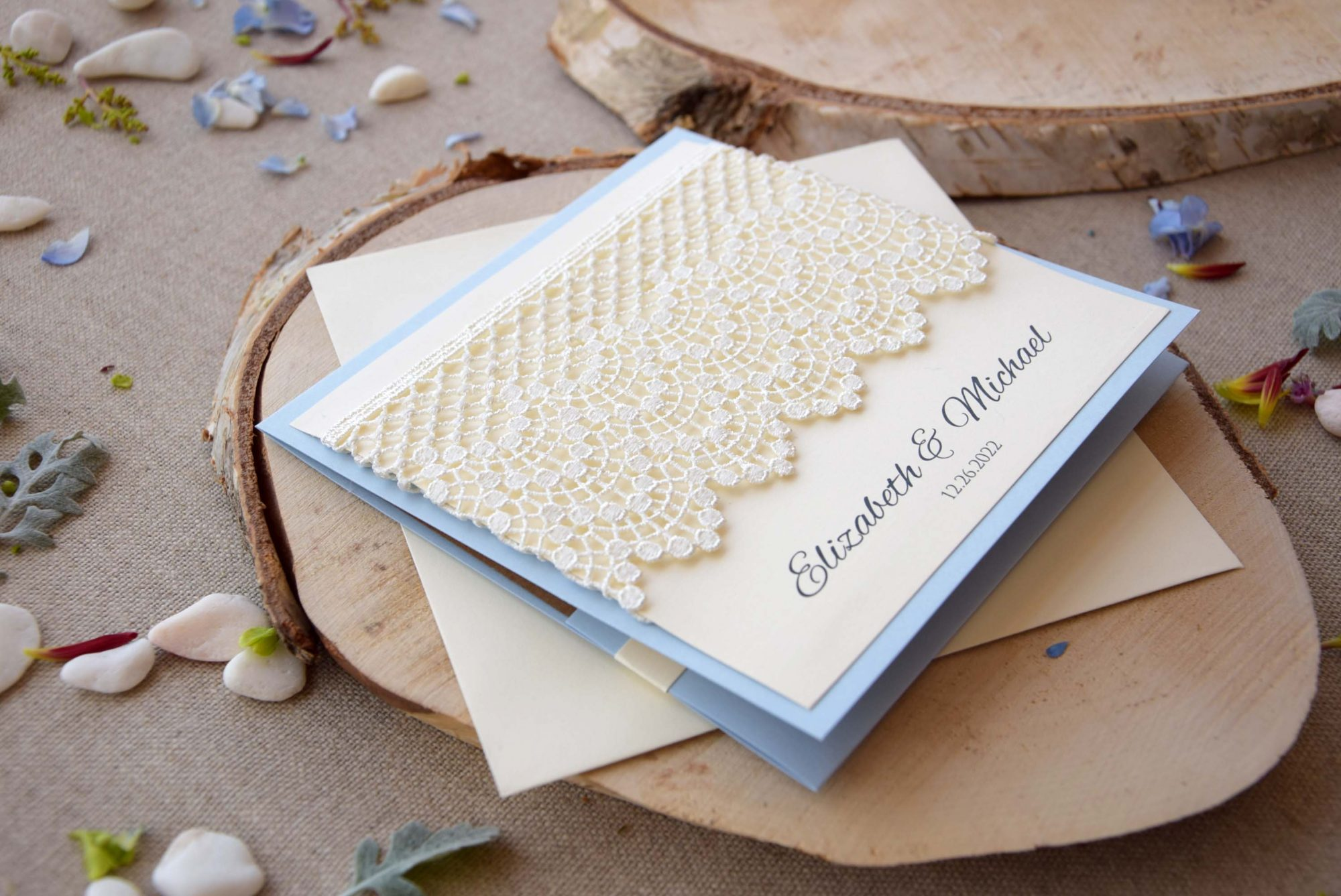 Dusty Blue Lace Wedding Invitations