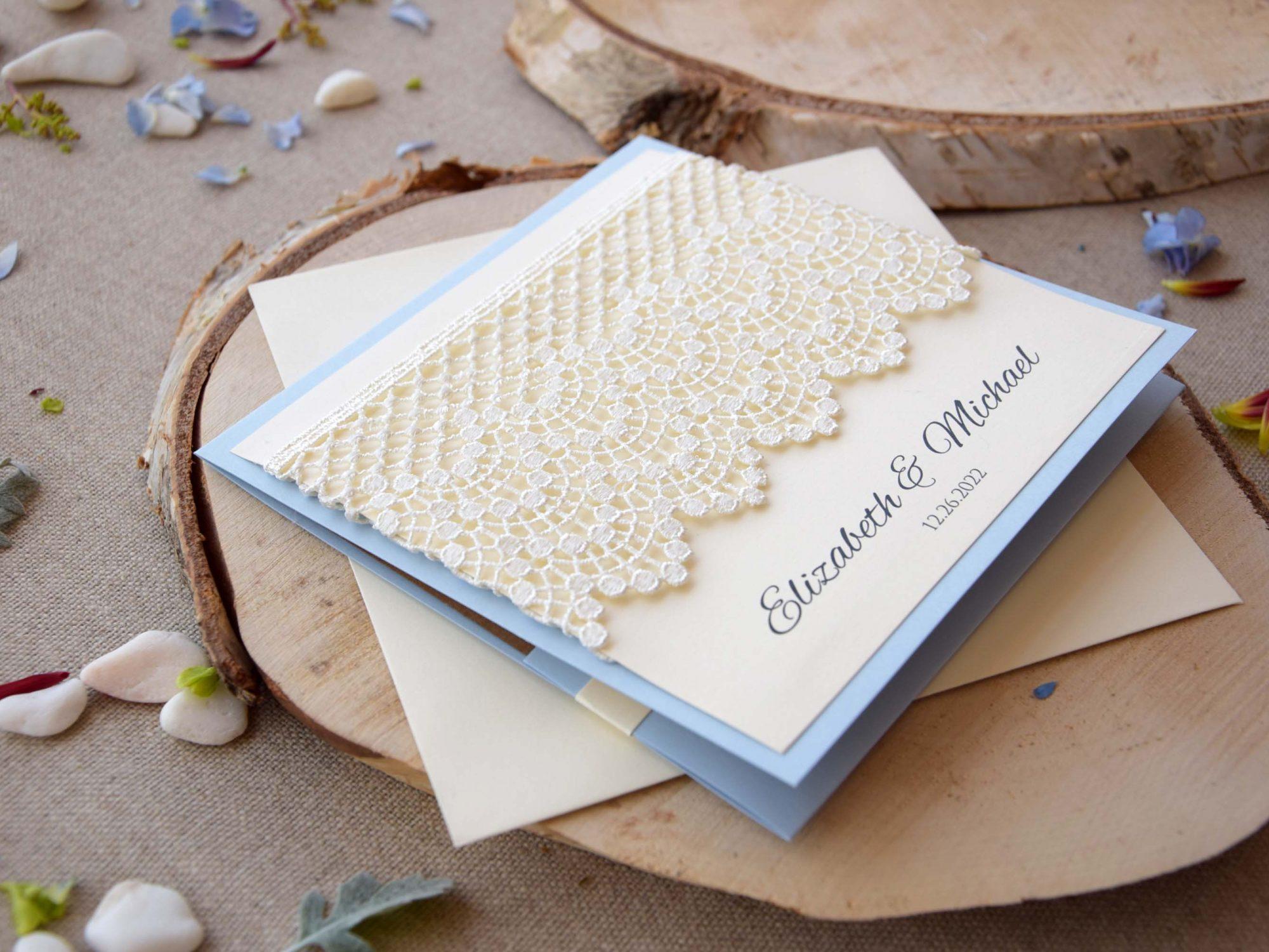 Dusty Blue Lace Wedding Invitations