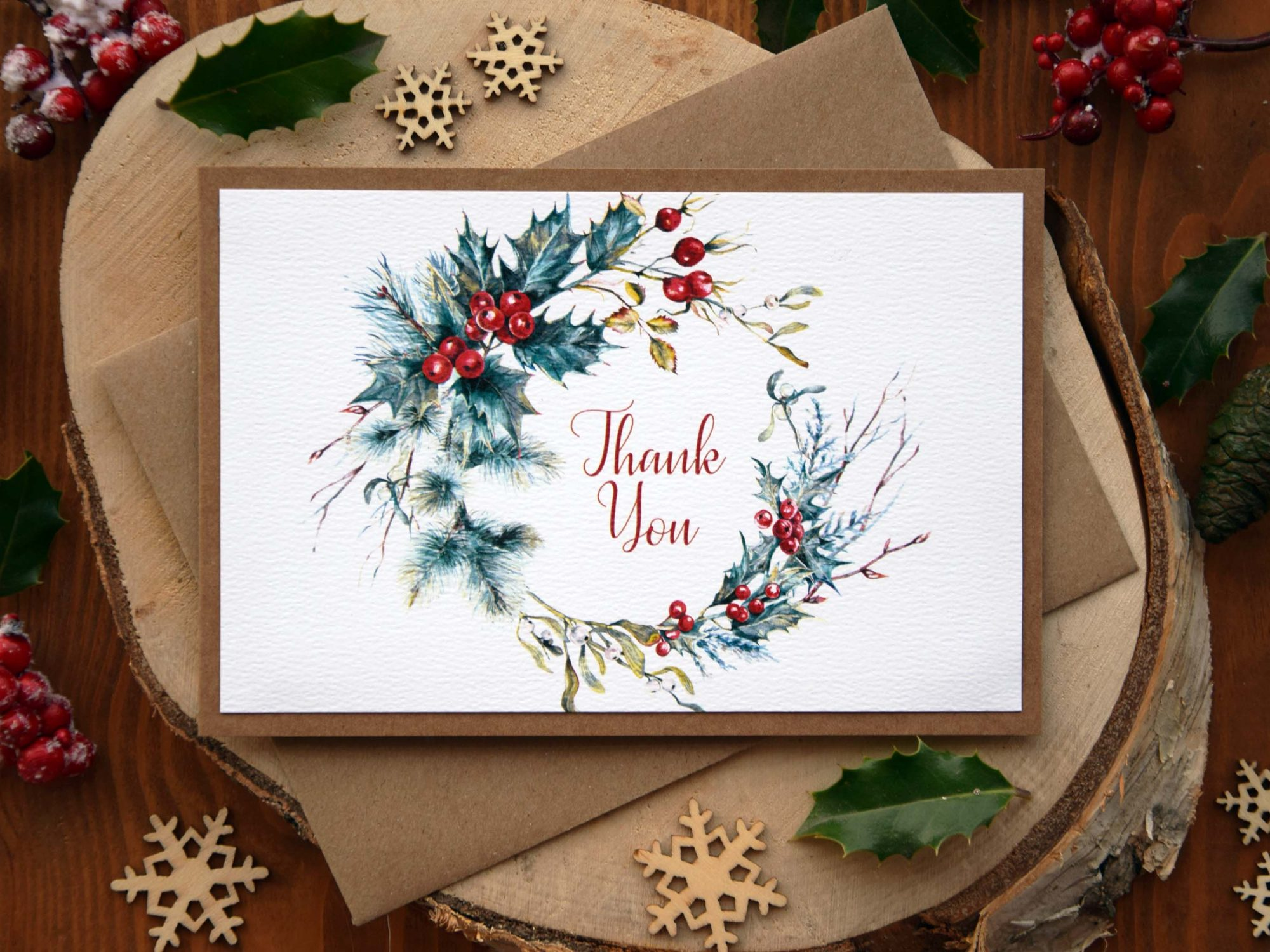 Christmas Wedding Thank You Card