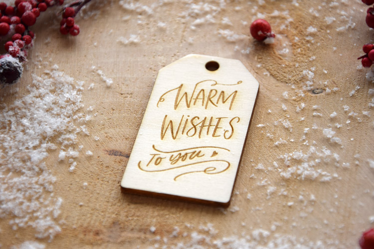 Warm and Whishes Wooden Tag