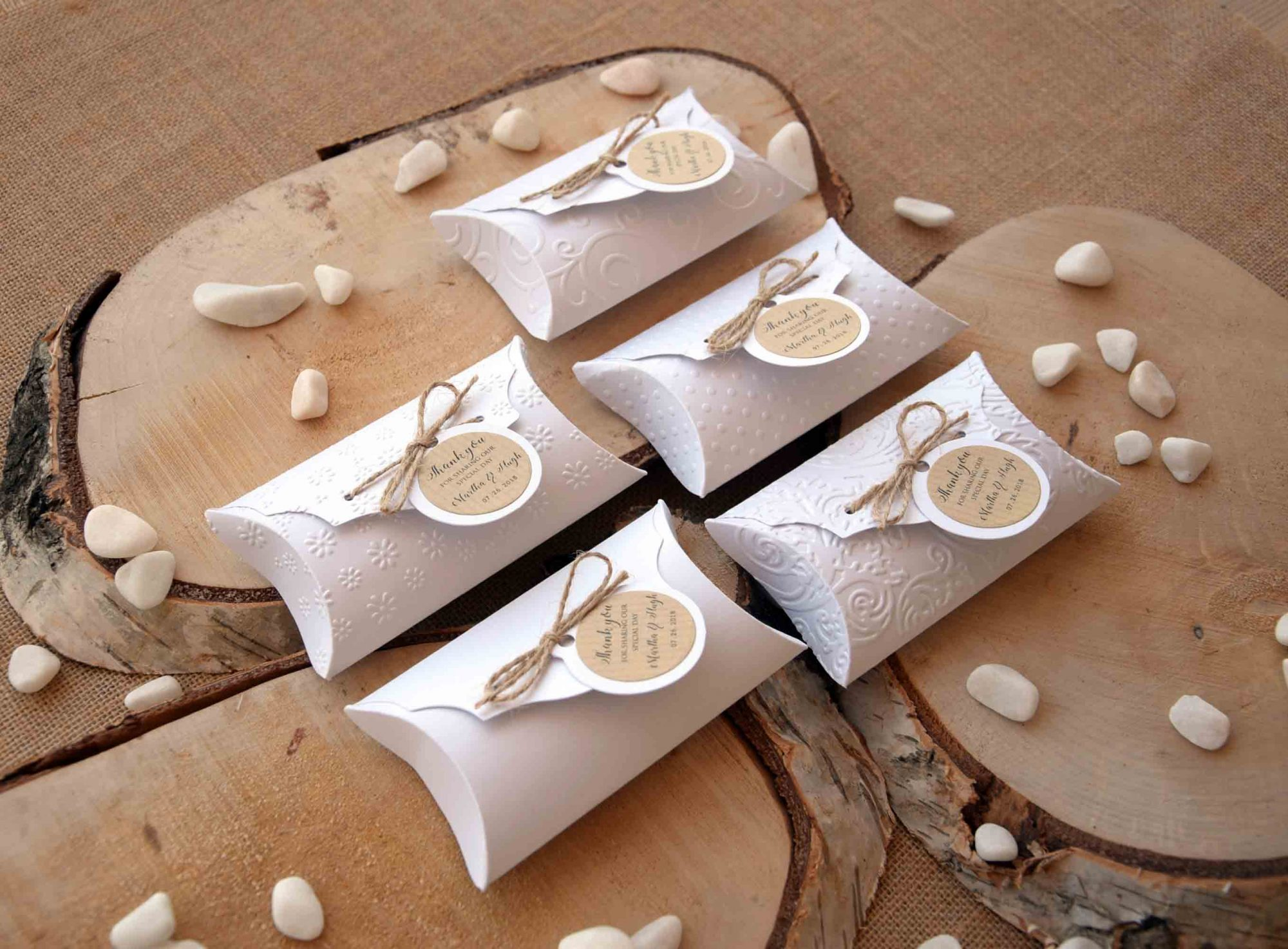 White Wedding Favor Pillow Boxes